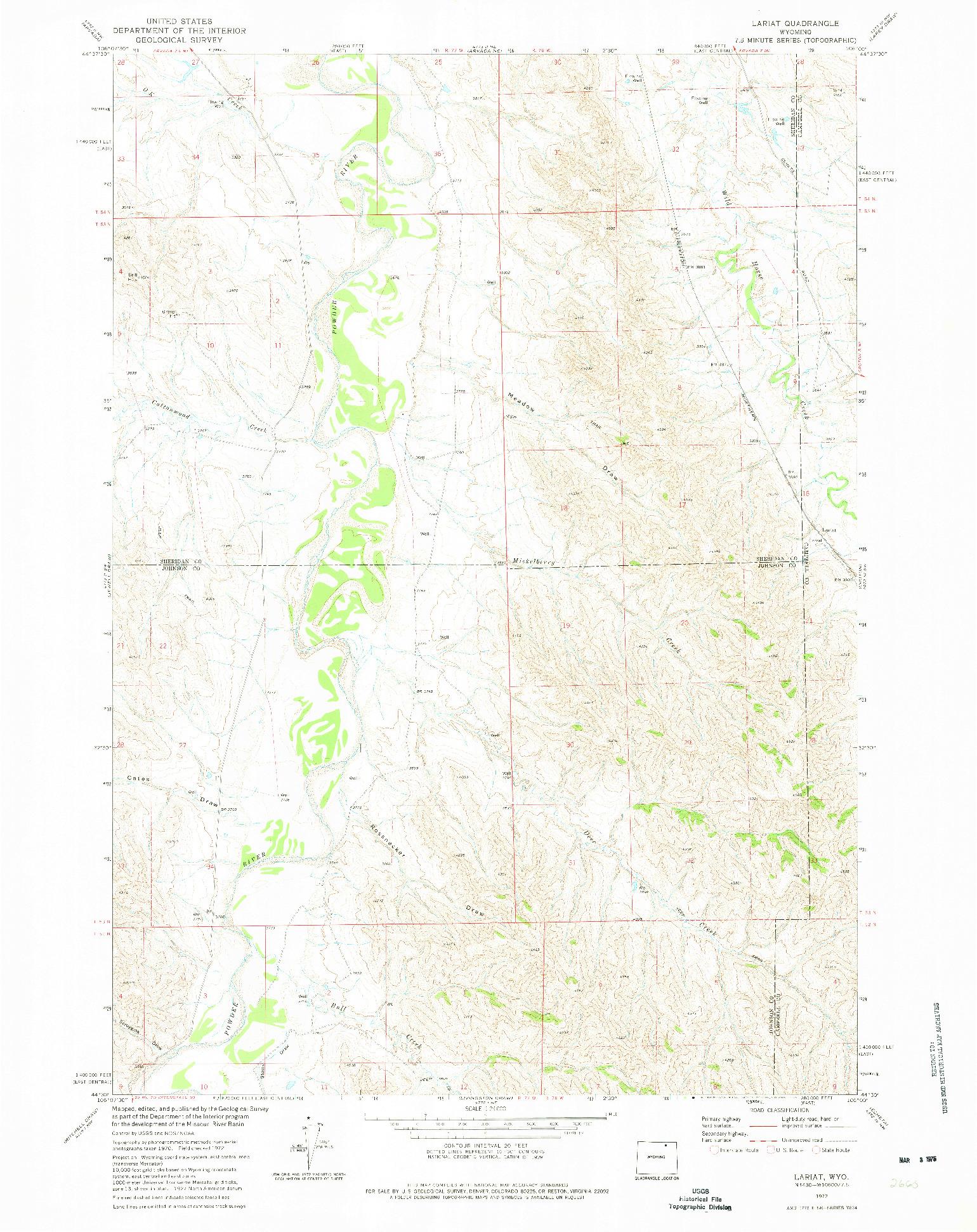 USGS 1:24000-SCALE QUADRANGLE FOR LARIAT, WY 1972