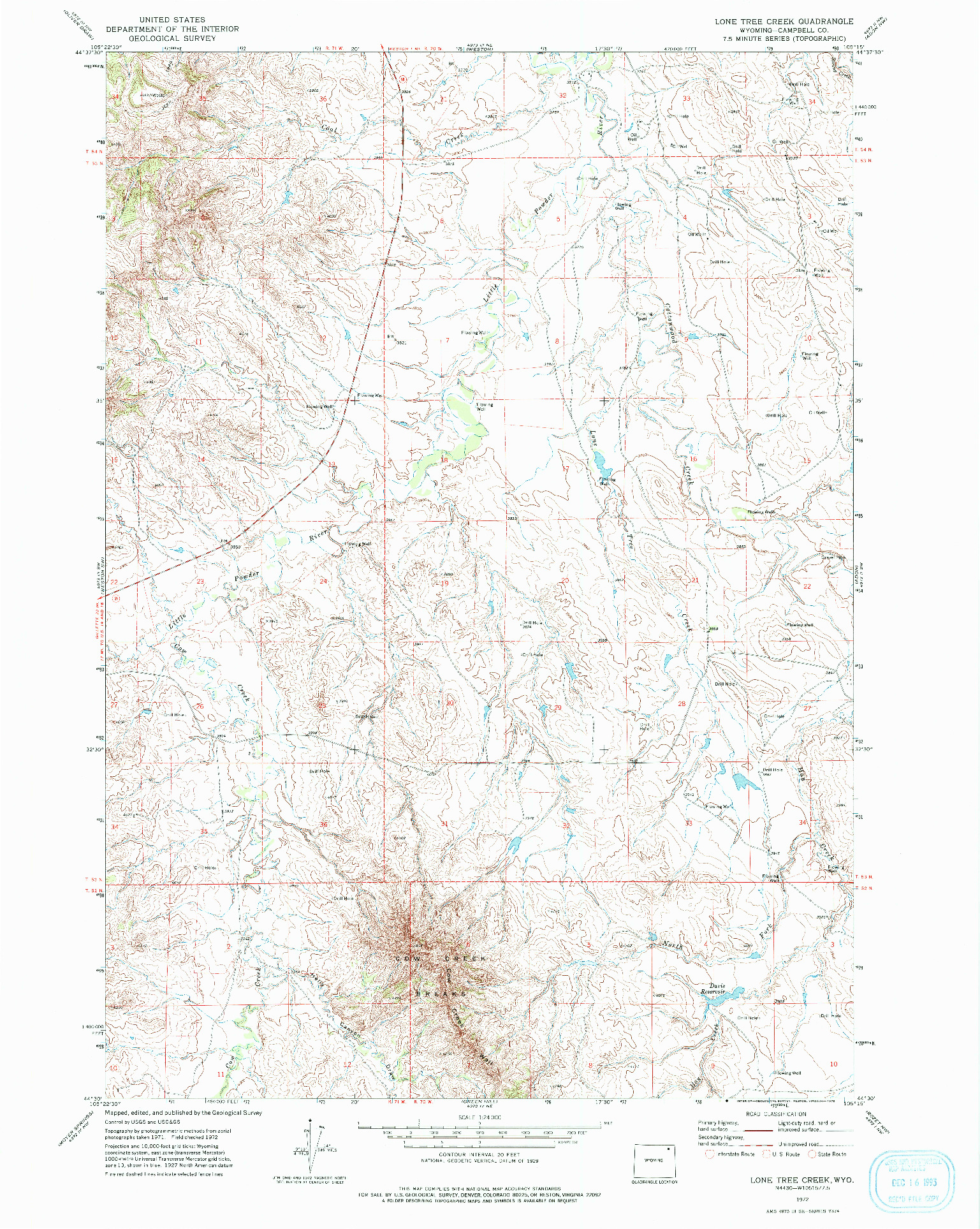 USGS 1:24000-SCALE QUADRANGLE FOR LONE TREE CREEK, WY 1972