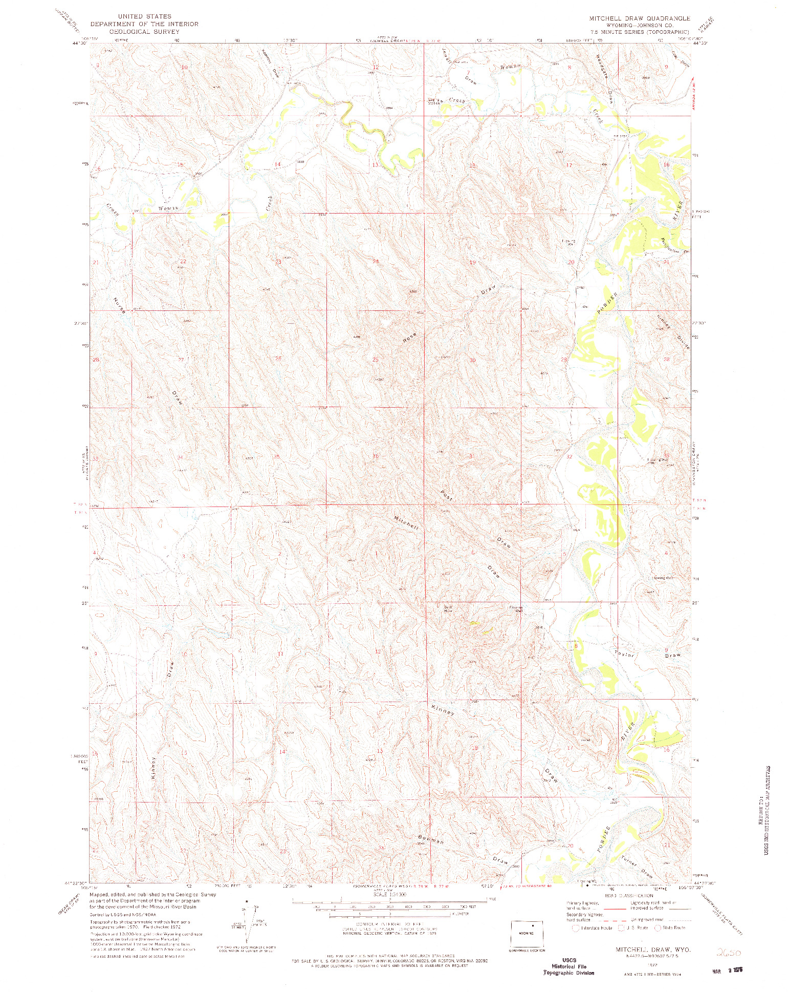 USGS 1:24000-SCALE QUADRANGLE FOR MITCHELL DRAW, WY 1972