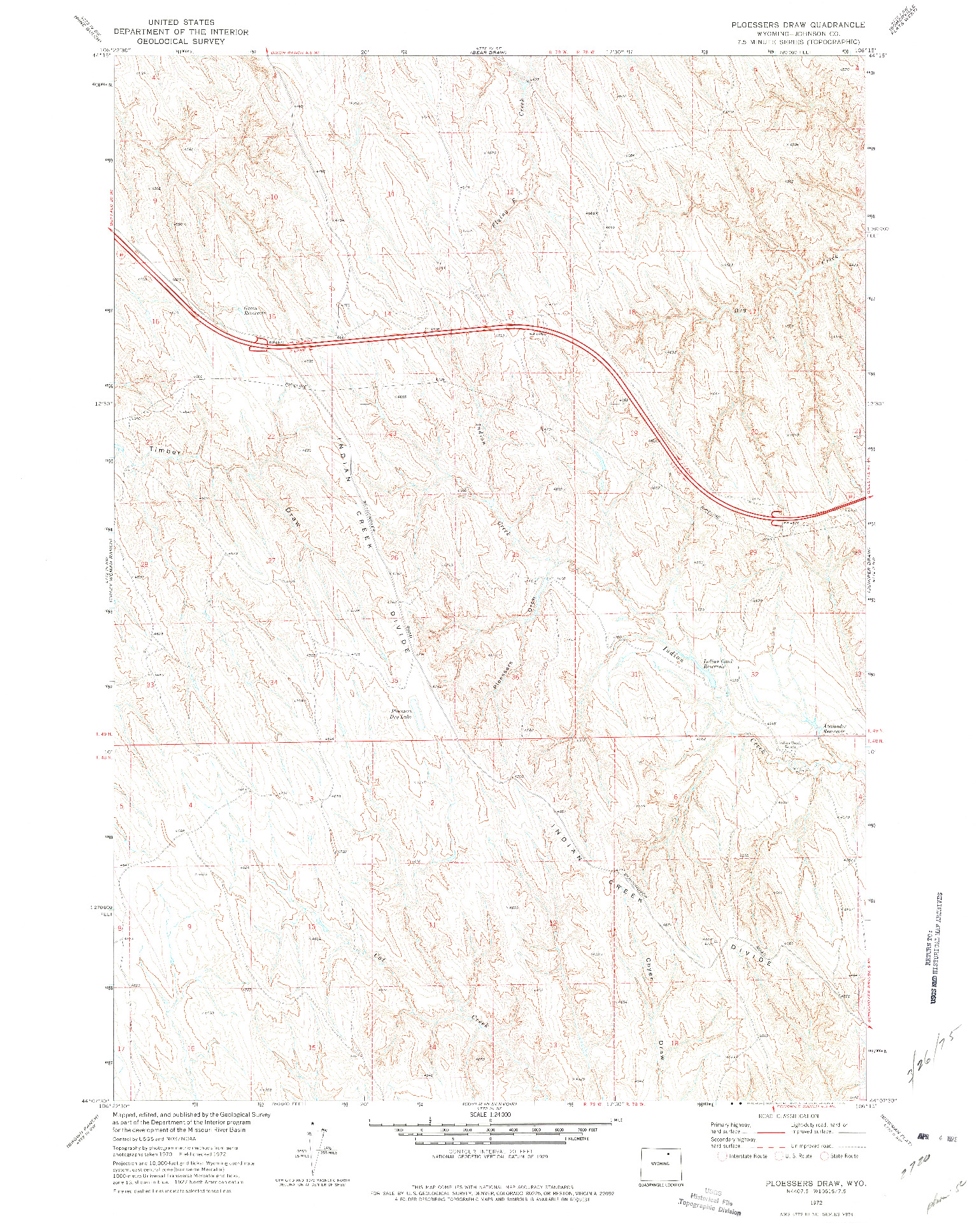 USGS 1:24000-SCALE QUADRANGLE FOR PLOESSERS DRAW, WY 1972