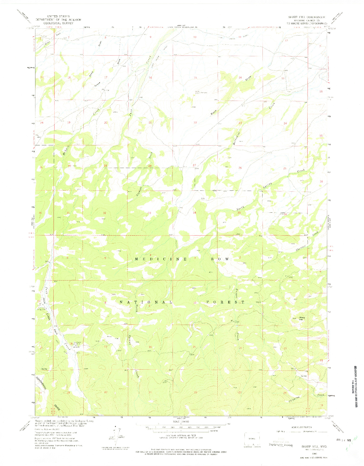 USGS 1:24000-SCALE QUADRANGLE FOR SHARP HILL, WY 1961