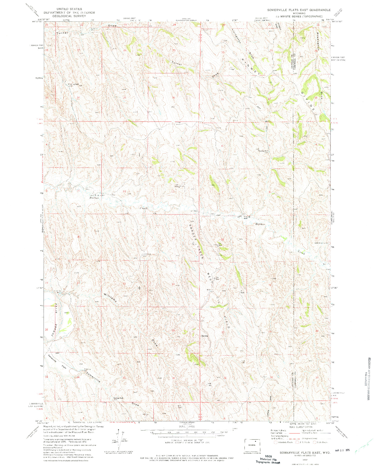 USGS 1:24000-SCALE QUADRANGLE FOR SOMERVILLE FLATS EAST, WY 1972