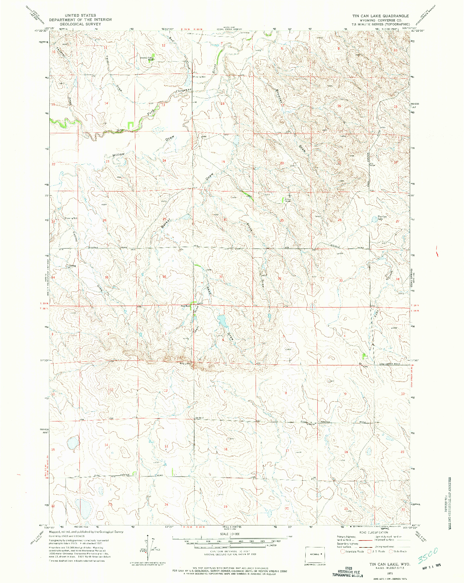 USGS 1:24000-SCALE QUADRANGLE FOR TIN CAN LAKE, WY 1971