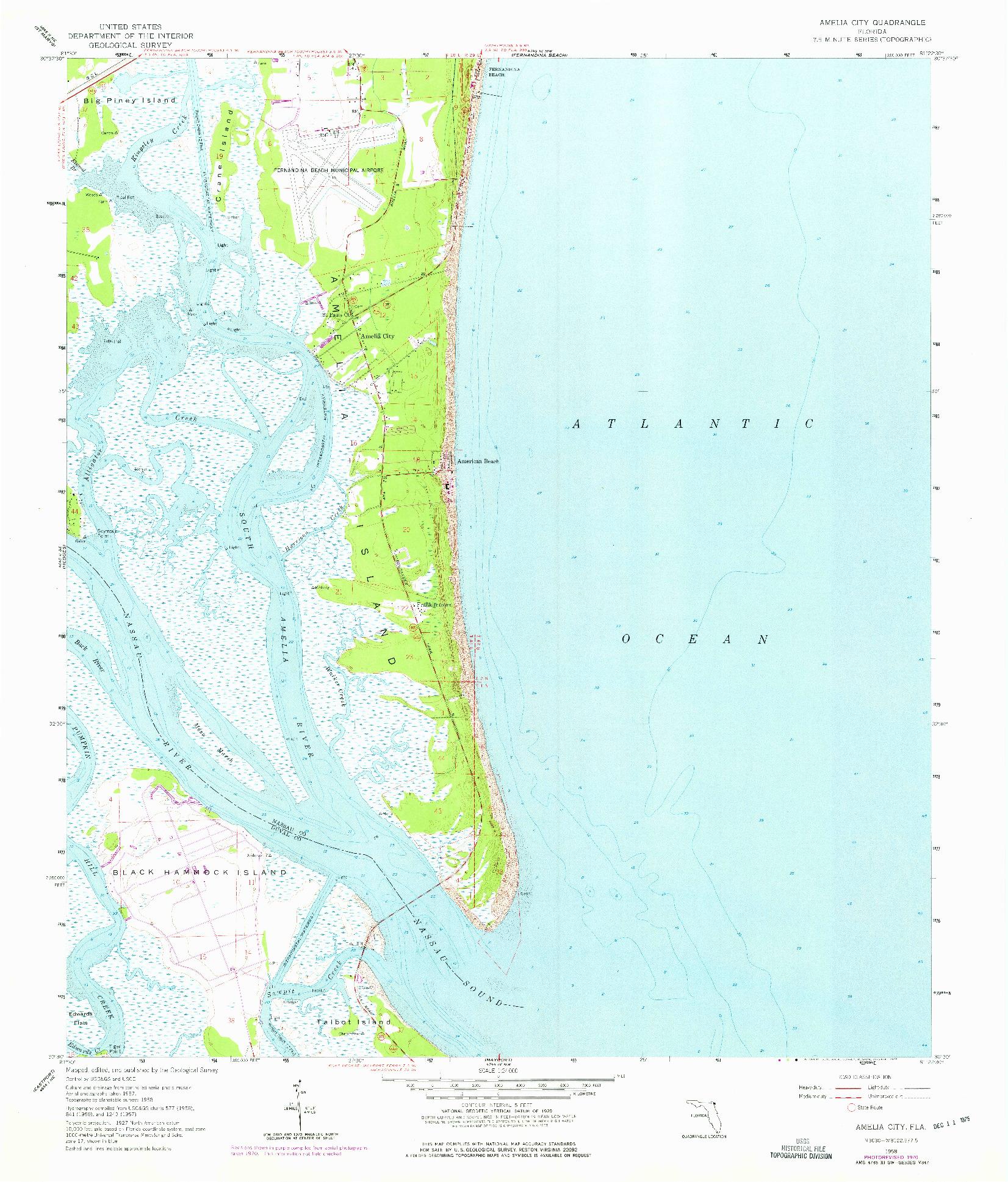 USGS 1:24000-SCALE QUADRANGLE FOR AMELIA CITY, FL 1958