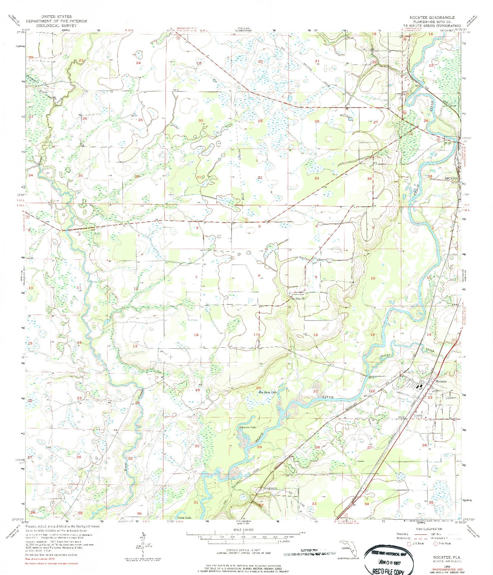 USGS 1:24000-SCALE QUADRANGLE FOR NOCATEE, FL 1956