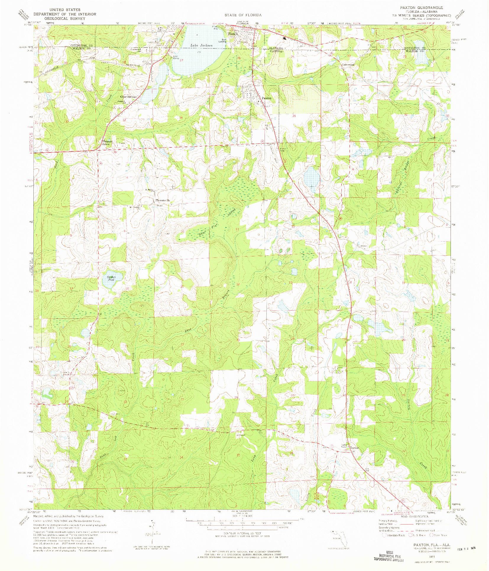 USGS 1:24000-SCALE QUADRANGLE FOR PAXTON, FL 1973