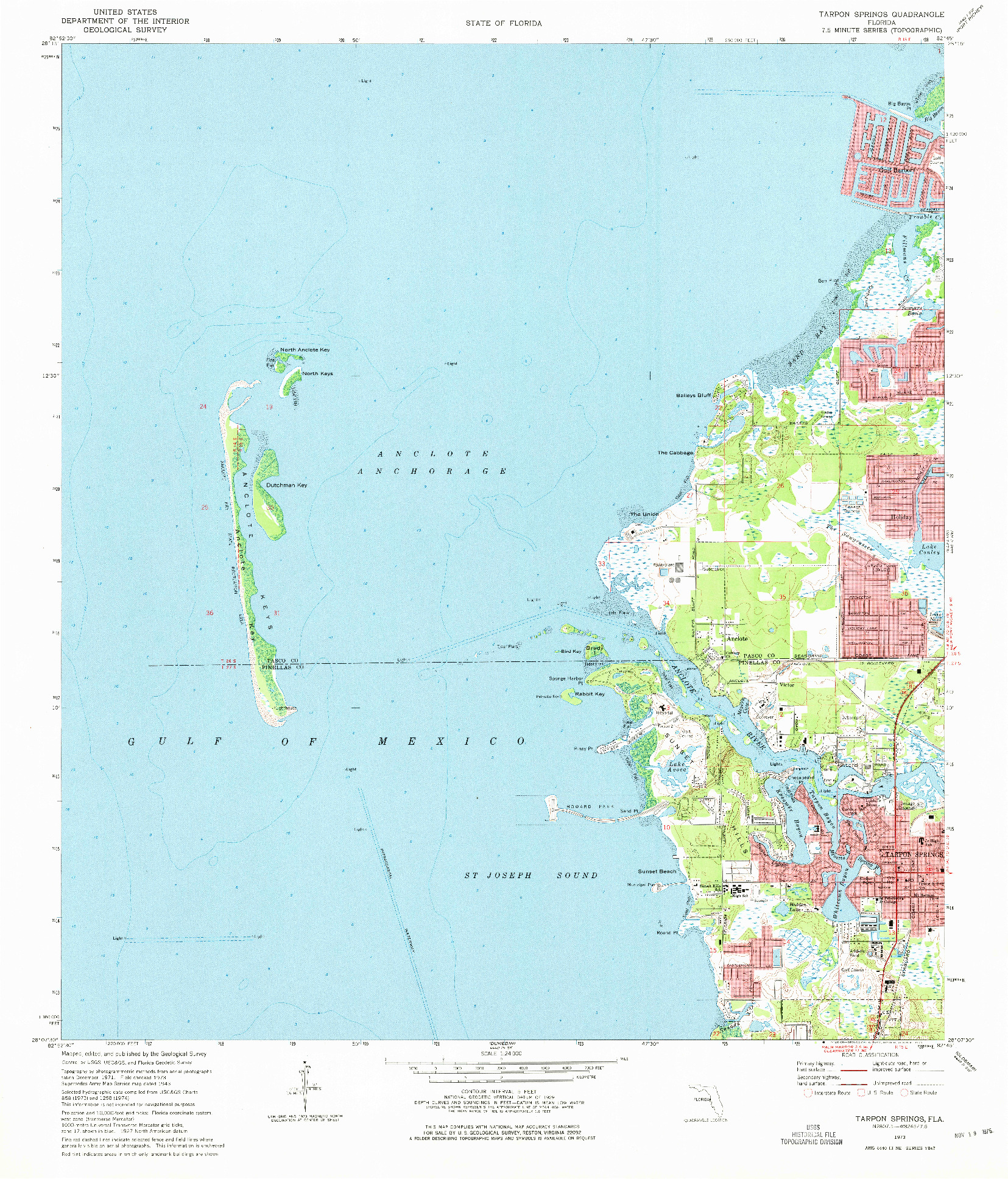 USGS 1:24000-SCALE QUADRANGLE FOR TARPON SPRINGS, FL 1973