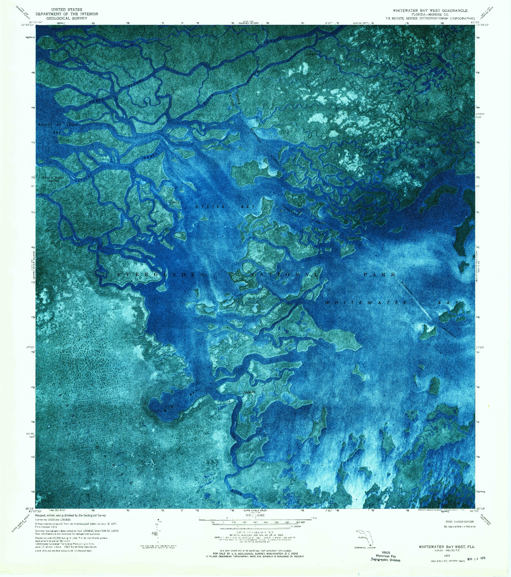 USGS 1:24000-SCALE QUADRANGLE FOR WHITEWATER BAY WEST, FL 1972
