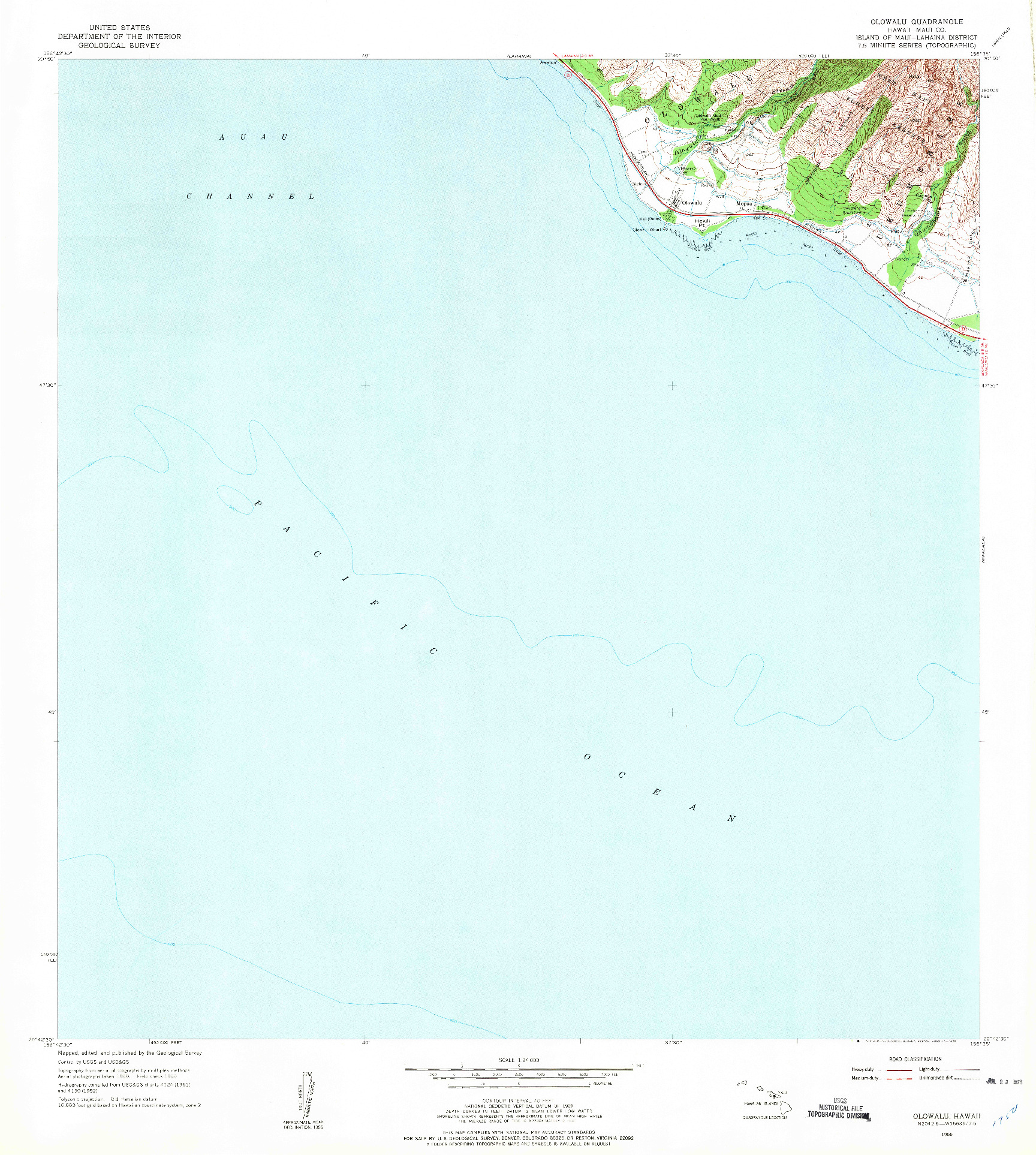 USGS 1:24000-SCALE QUADRANGLE FOR OLOWALU, HI 1955