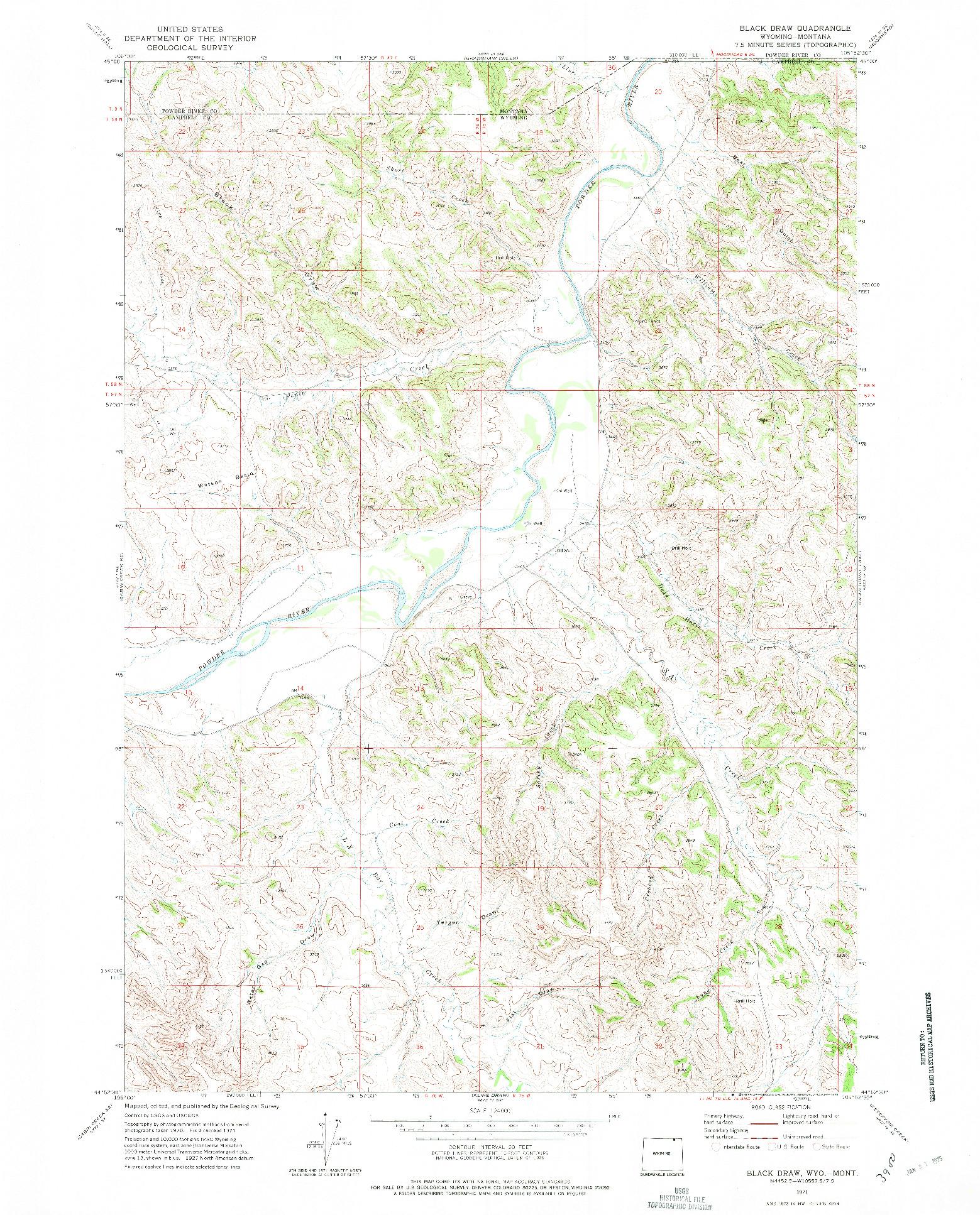 USGS 1:24000-SCALE QUADRANGLE FOR BLACK DRAW, WY 1971