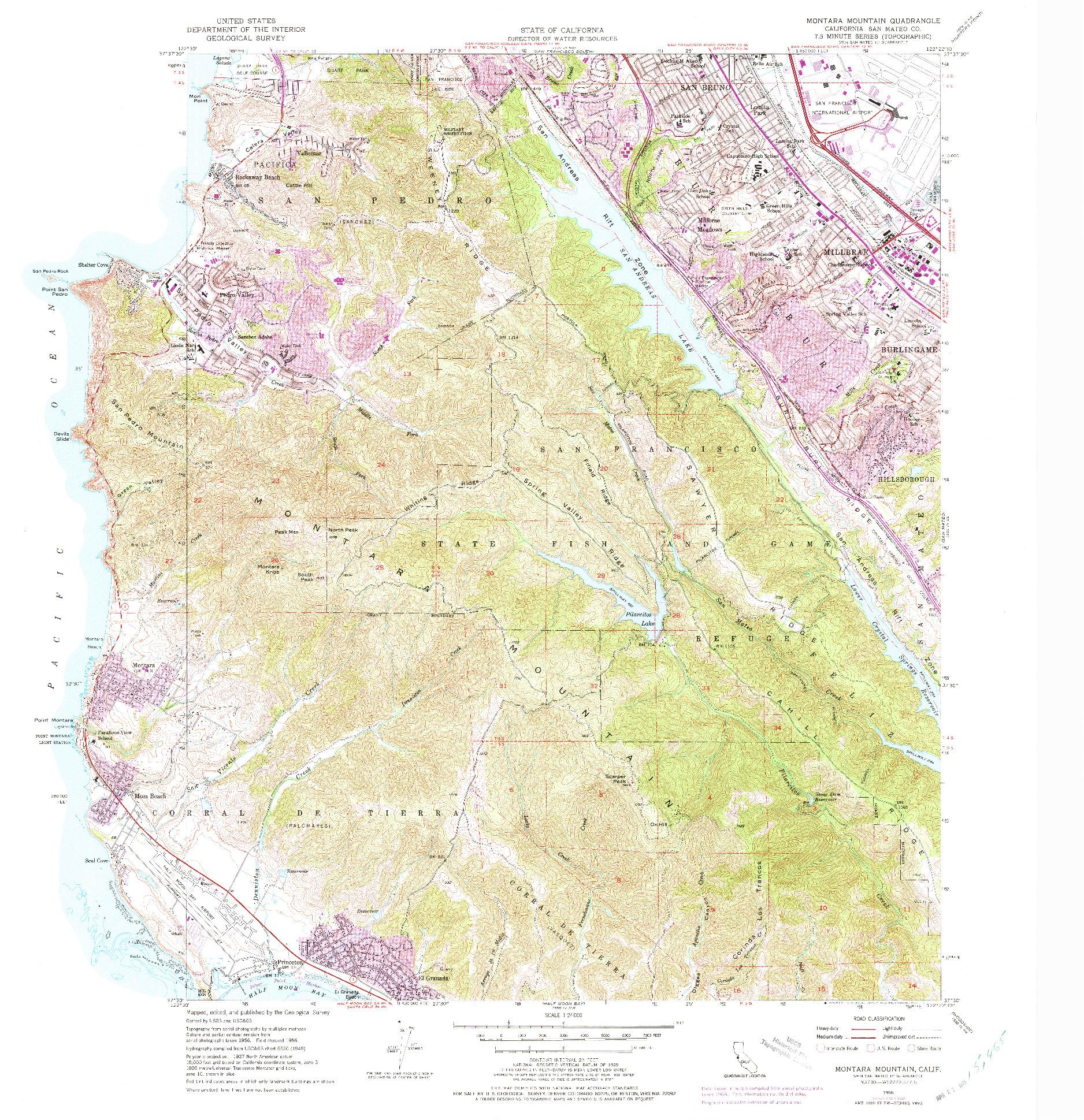 USGS 1:24000-SCALE QUADRANGLE FOR MONTARA MOUNTAIN, CA 1956