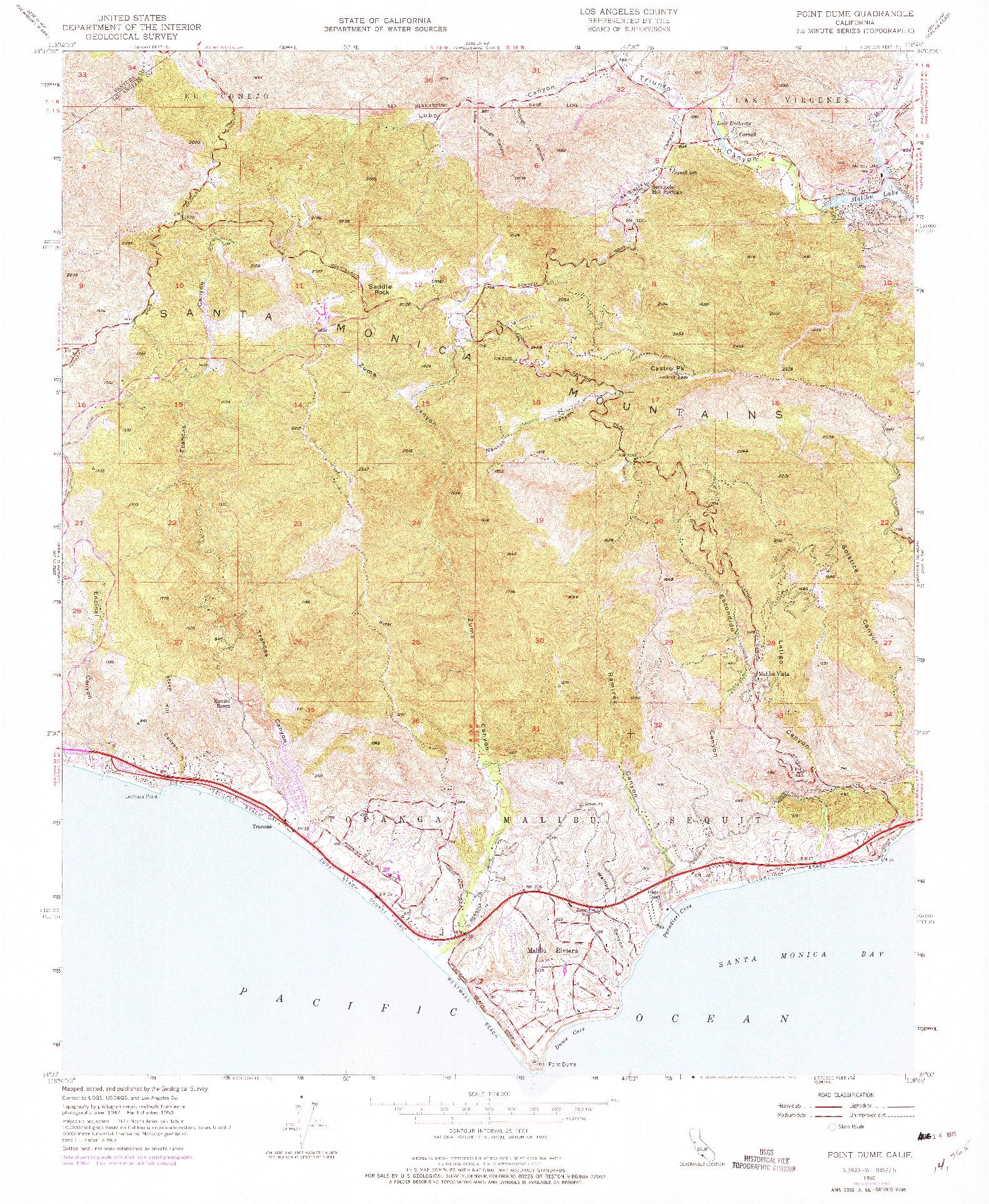 USGS 1:24000-SCALE QUADRANGLE FOR POINT DUME, CA 1950