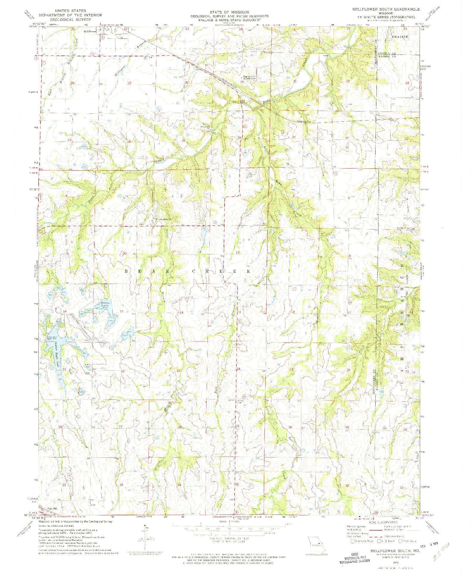USGS 1:24000-SCALE QUADRANGLE FOR BELLFLOWER SOUTH, MO 1973