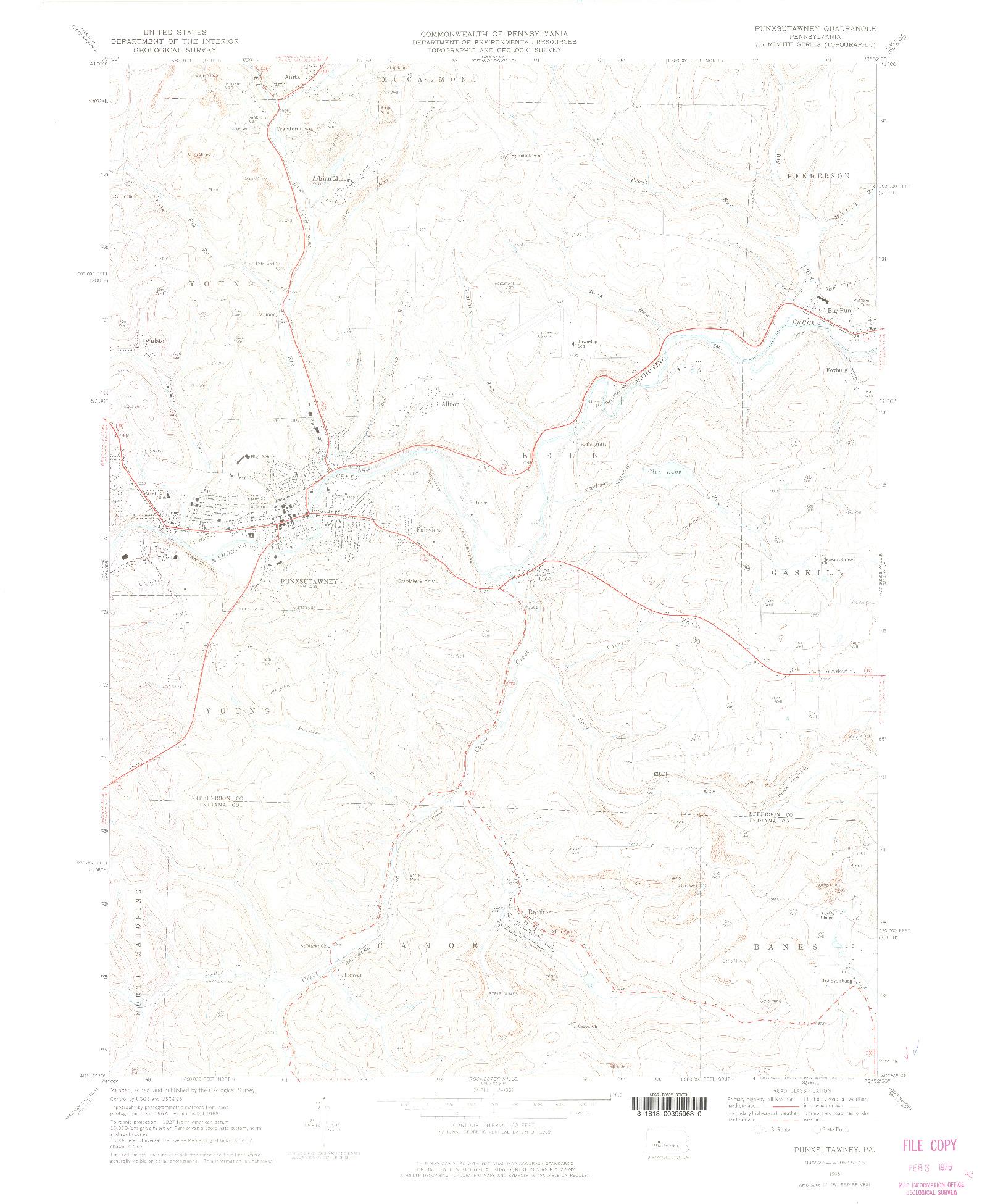 USGS 1:24000-SCALE QUADRANGLE FOR PUNXSUTAWNEY, PA 1968