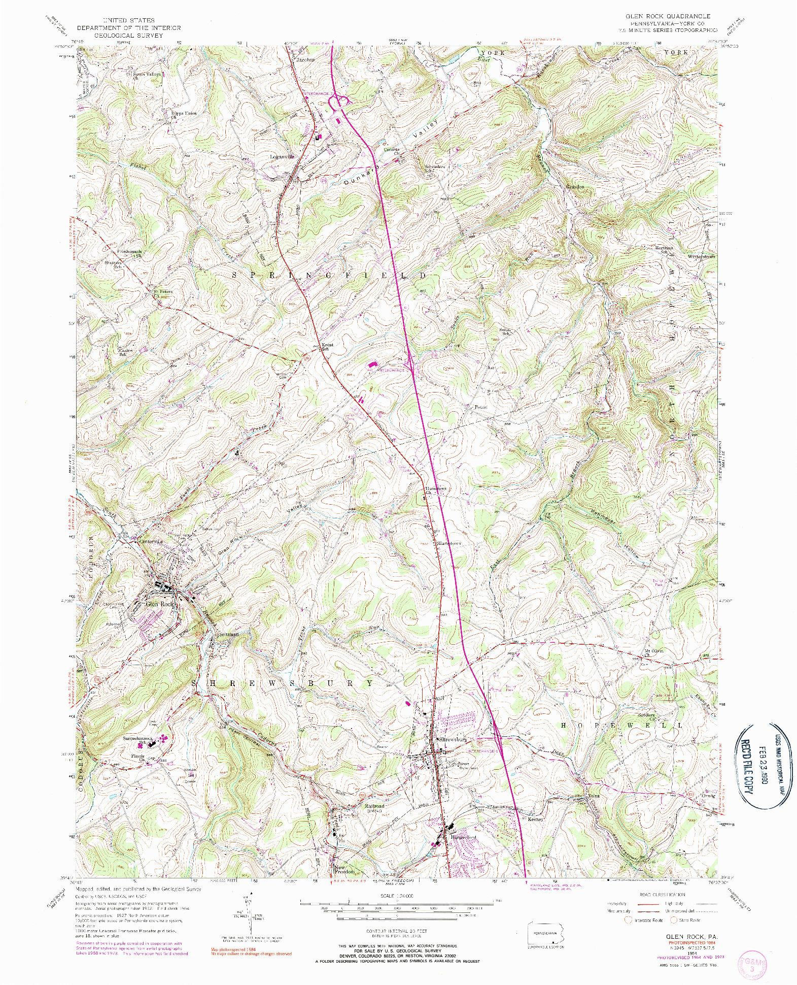 USGS 1:24000-SCALE QUADRANGLE FOR GLEN ROCK, PA 1954