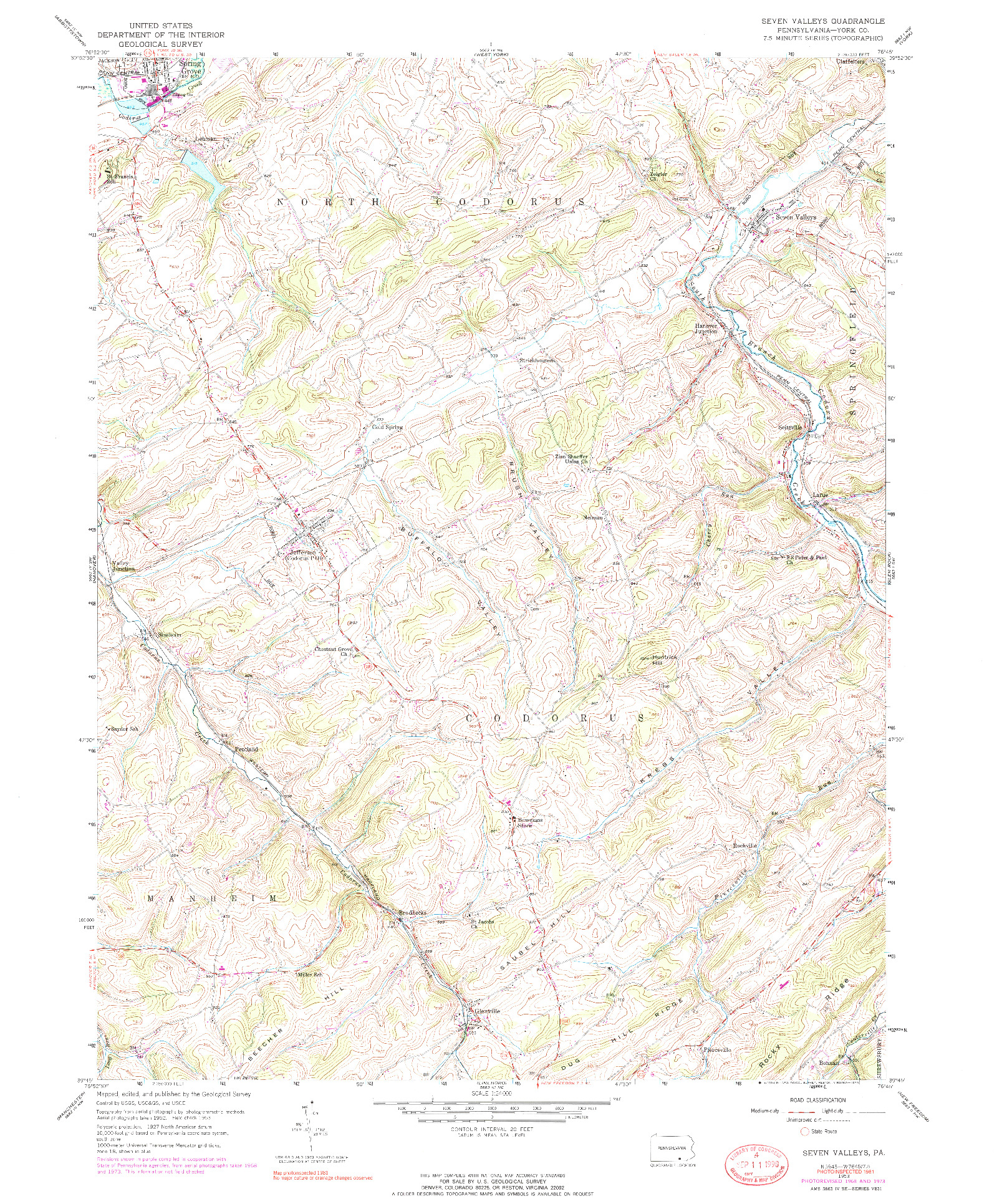 USGS 1:24000-SCALE QUADRANGLE FOR SEVEN VALLEYS, PA 1953
