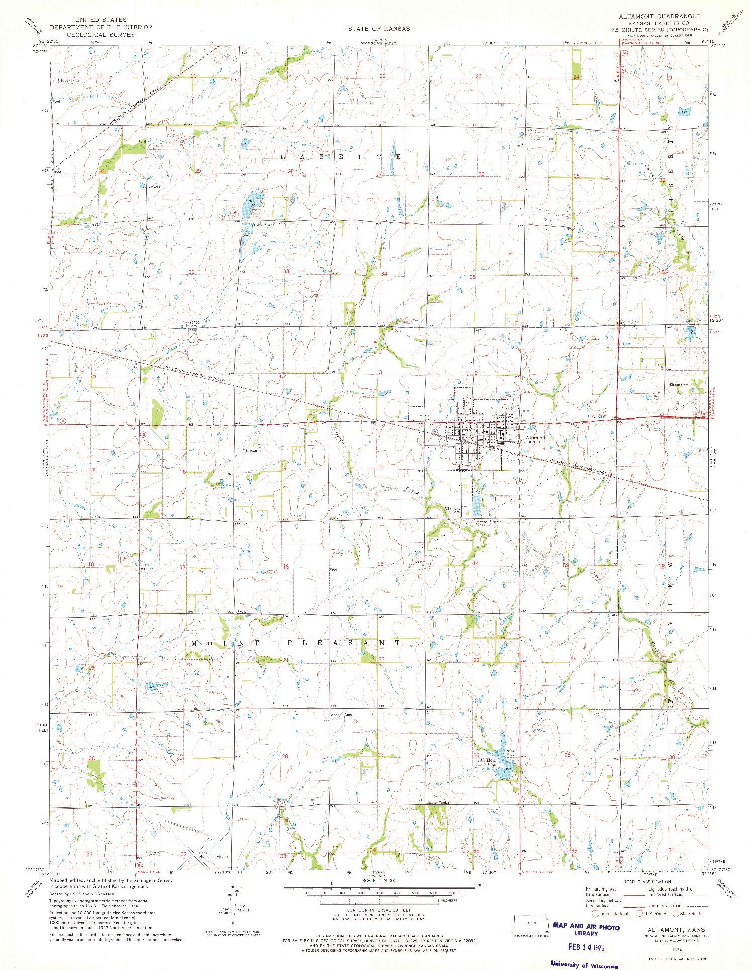 USGS 1:24000-SCALE QUADRANGLE FOR ALTAMONT, KS 1974