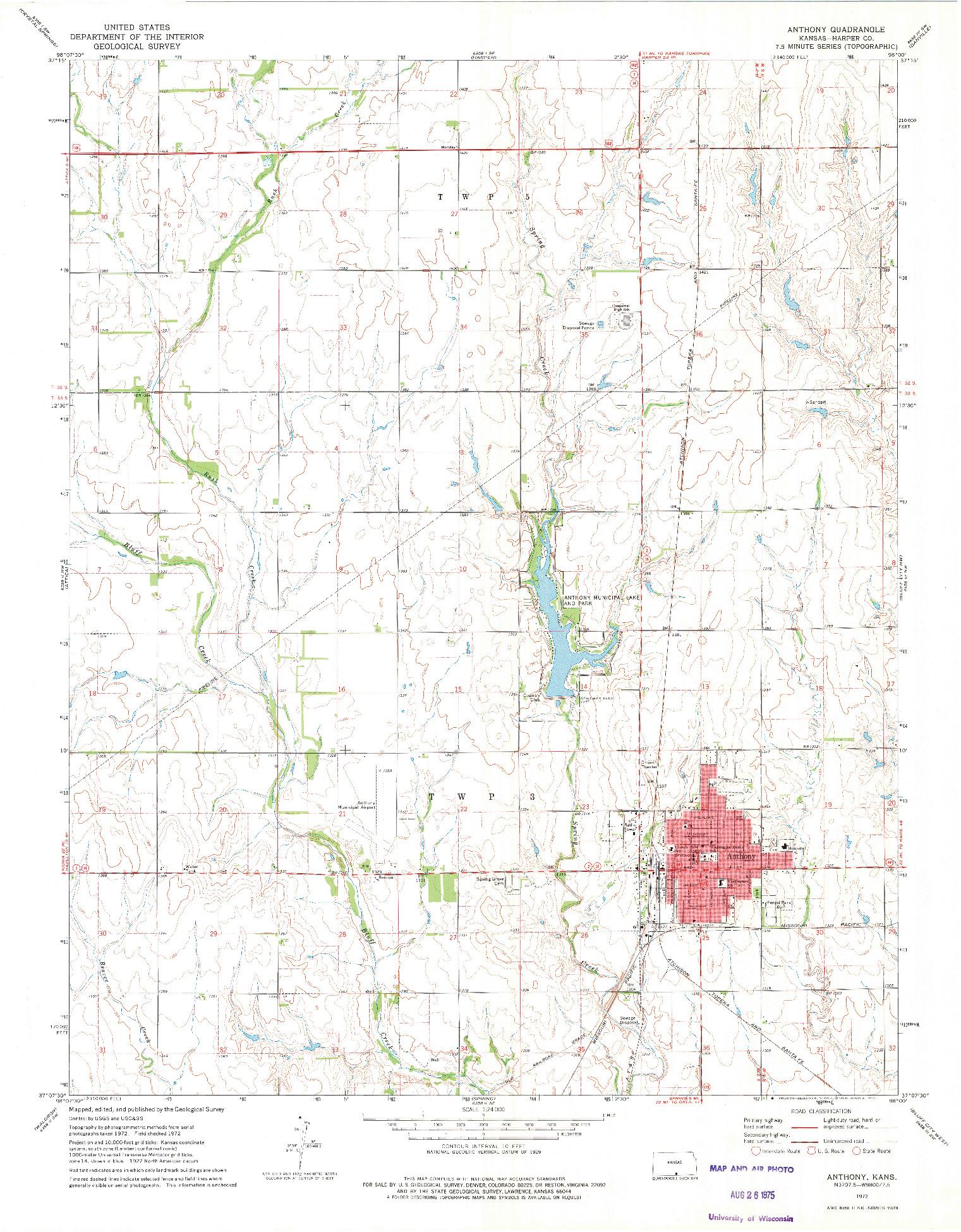 USGS 1:24000-SCALE QUADRANGLE FOR ANTHONY, KS 1972
