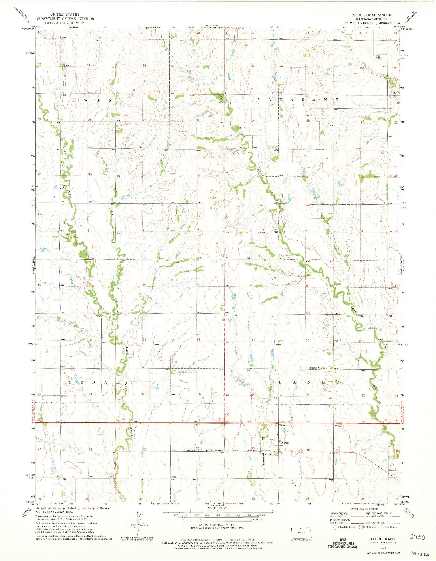 USGS 1:24000-SCALE QUADRANGLE FOR ATHOL, KS 1973