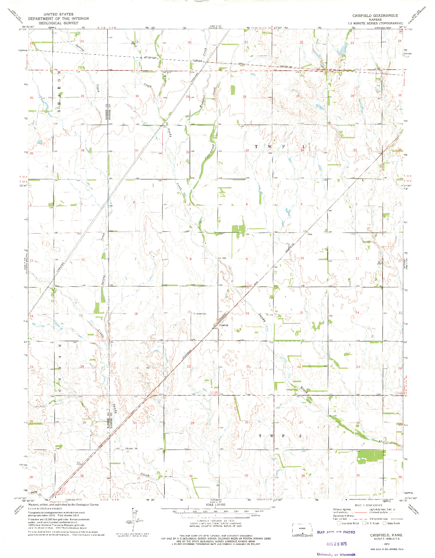 USGS 1:24000-SCALE QUADRANGLE FOR CRISFIELD, KS 1972