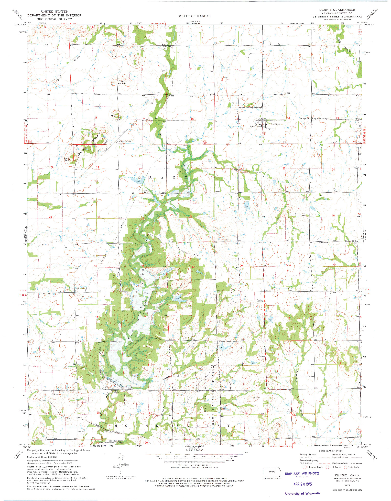 USGS 1:24000-SCALE QUADRANGLE FOR DENNIS, KS 1973