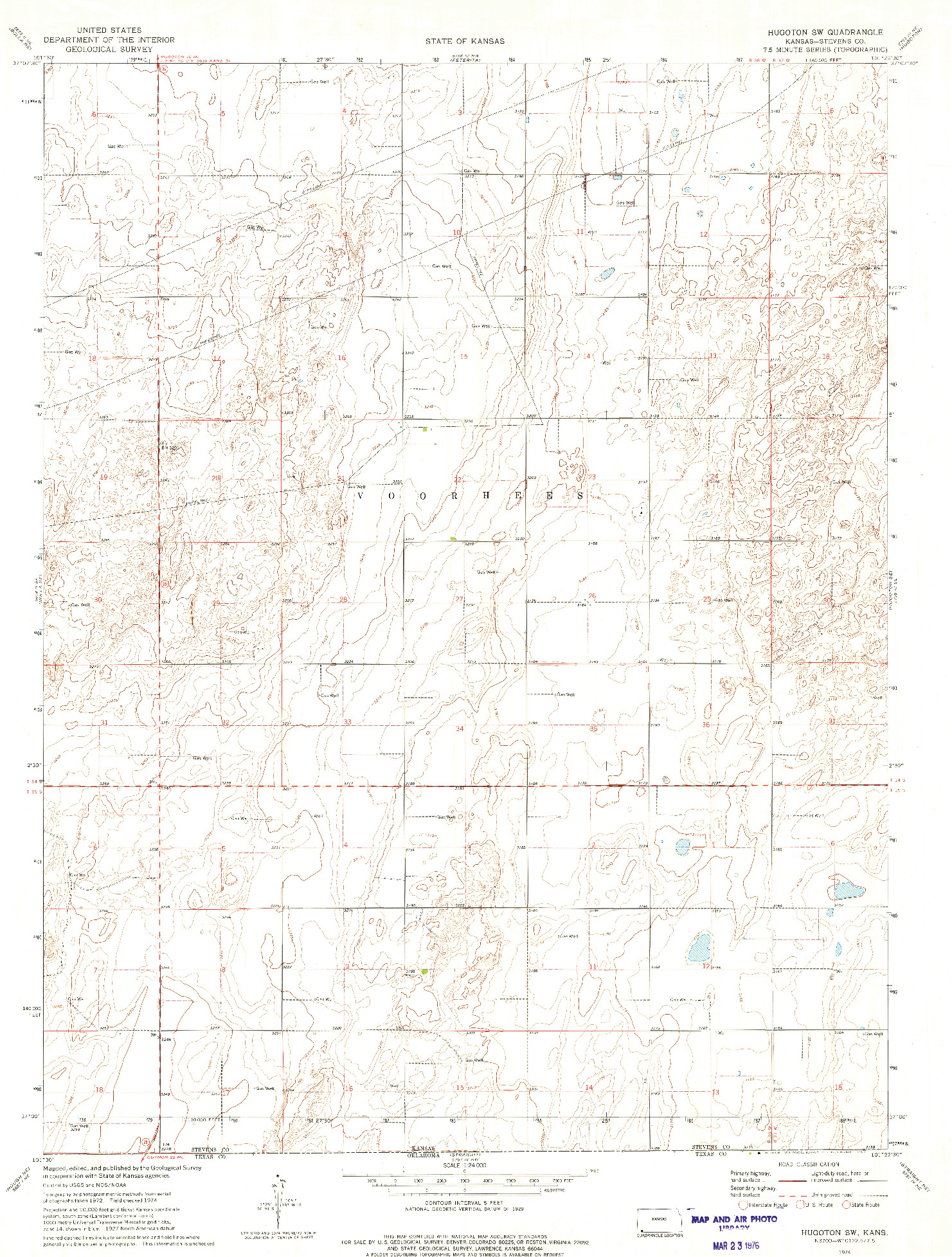 USGS 1:24000-SCALE QUADRANGLE FOR HUGOTON SW, KS 1974