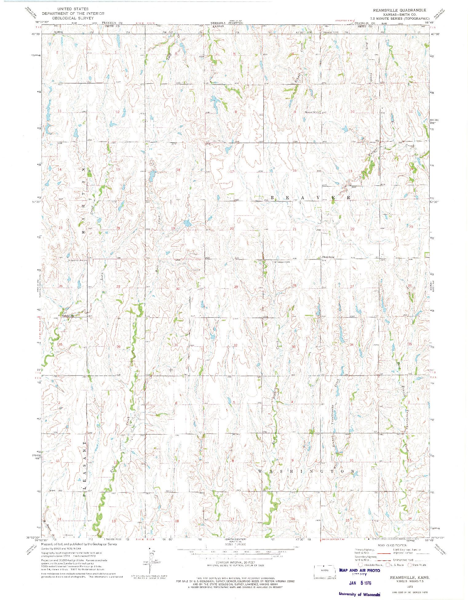 USGS 1:24000-SCALE QUADRANGLE FOR REAMSVILLE, KS 1973