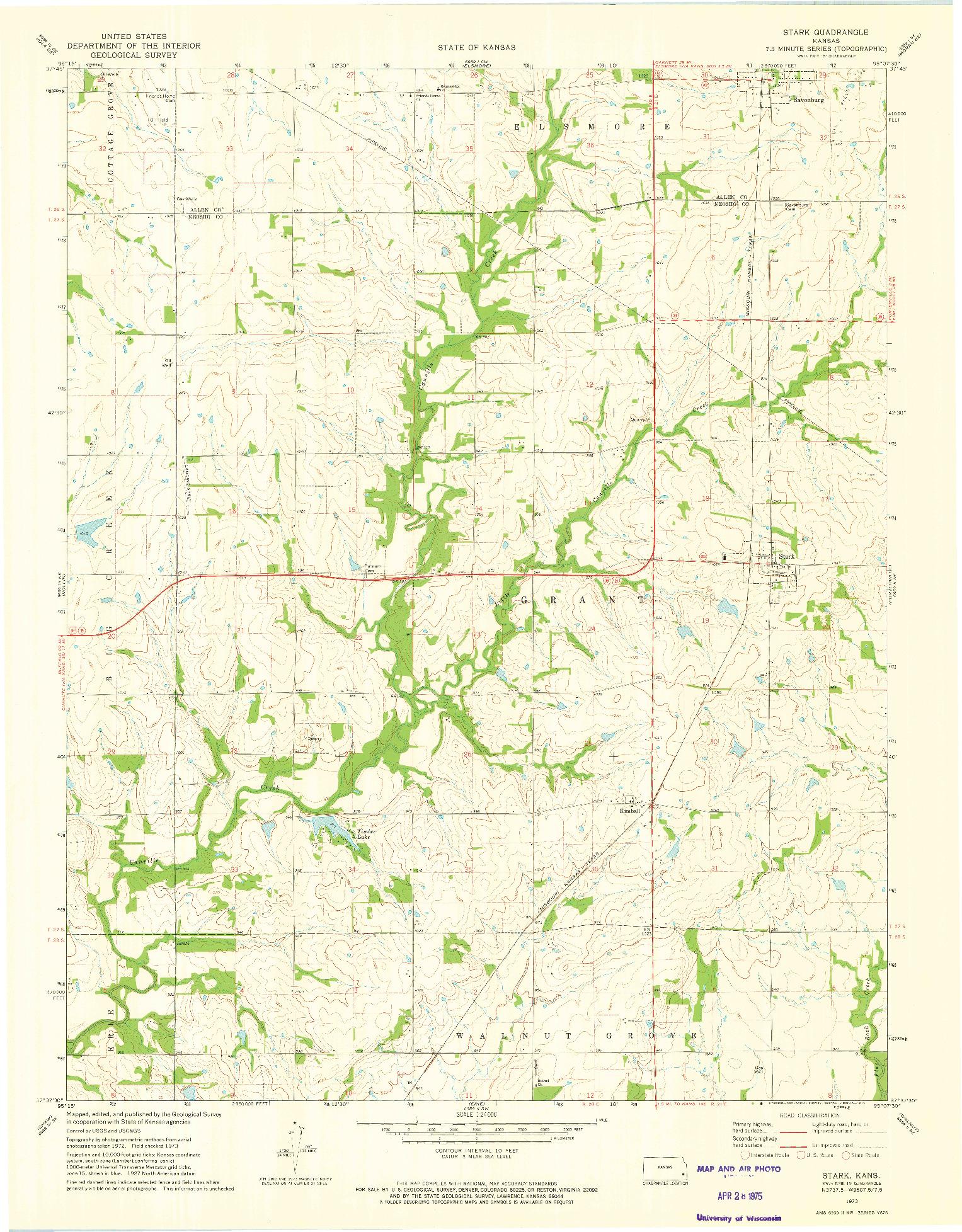 USGS 1:24000-SCALE QUADRANGLE FOR STARK, KS 1973