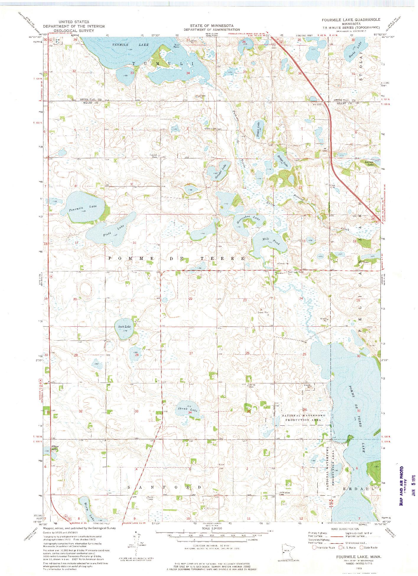 USGS 1:24000-SCALE QUADRANGLE FOR FOURMILE LAKE, MN 1973