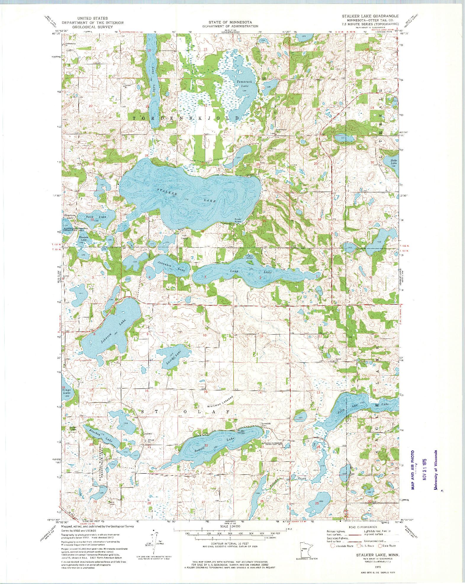 USGS 1:24000-SCALE QUADRANGLE FOR STALKER LAKE, MN 1973