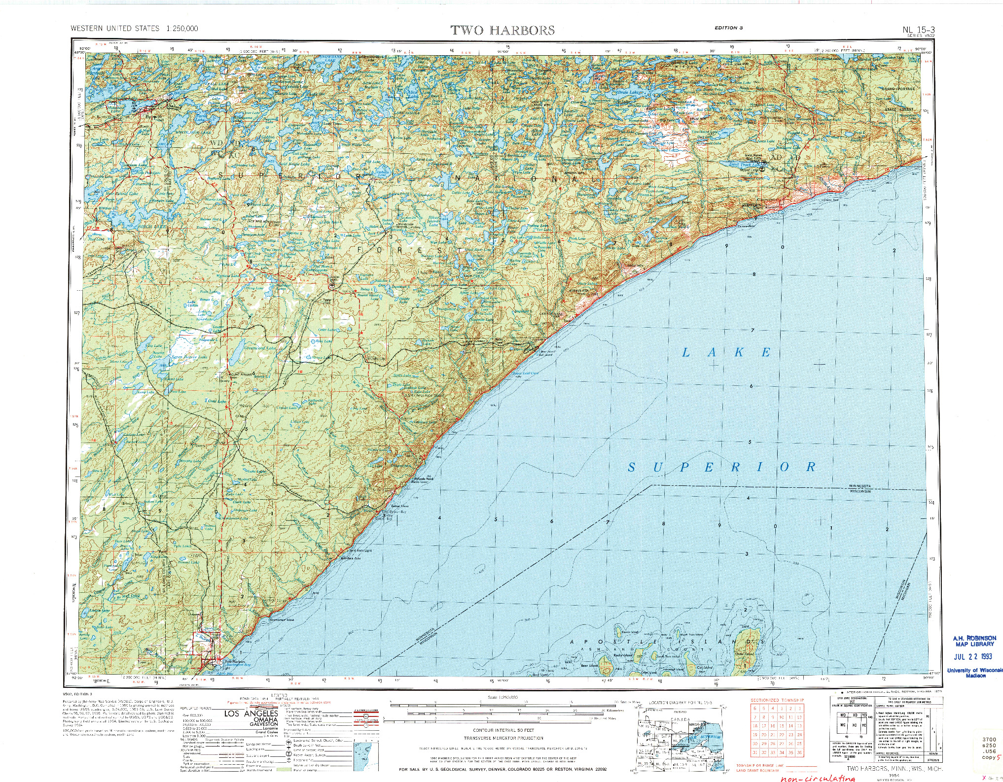 USGS 1:250000-SCALE QUADRANGLE FOR TWO HARBORS, MN 1954