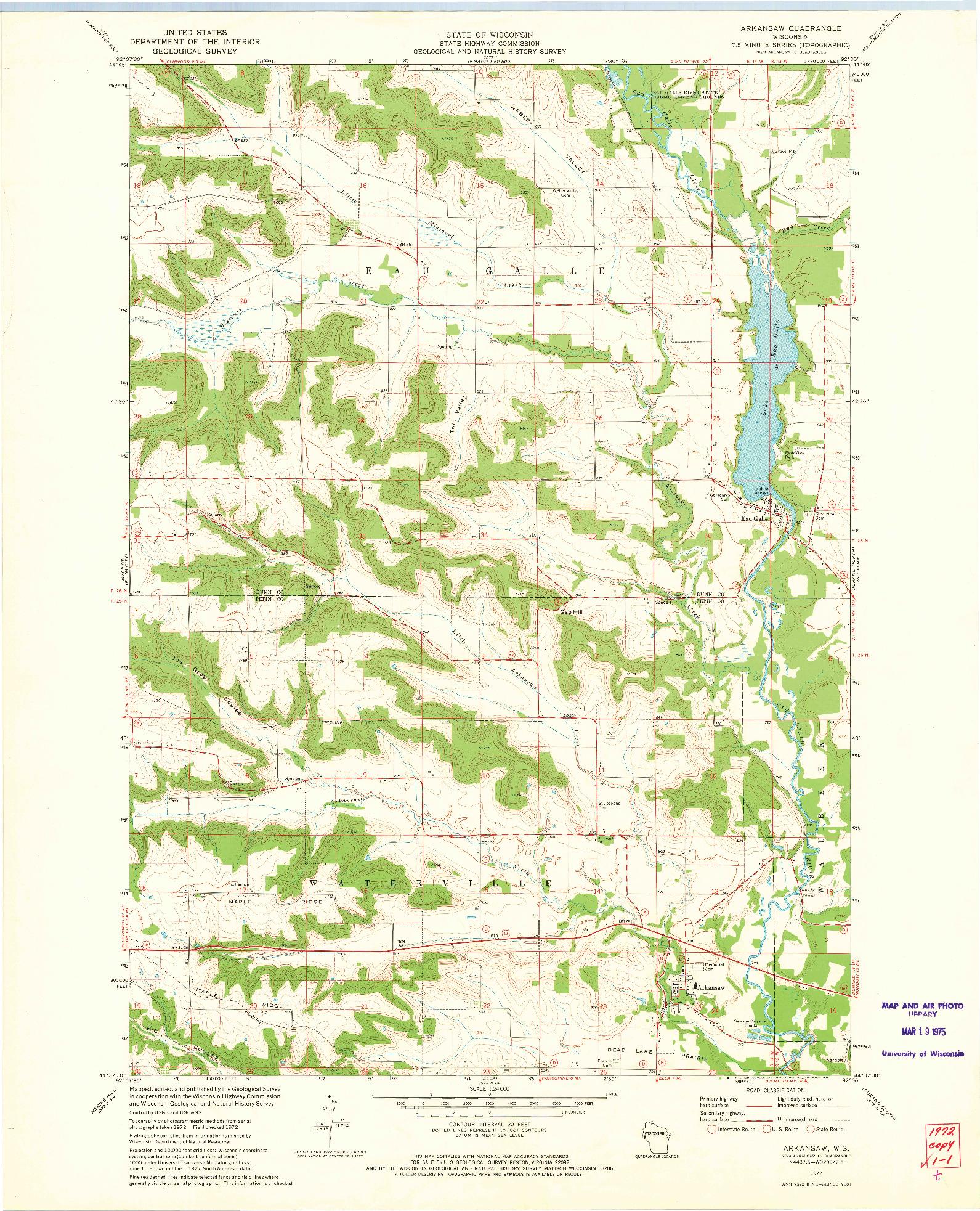 USGS 1:24000-SCALE QUADRANGLE FOR ARKANSAW, WI 1972