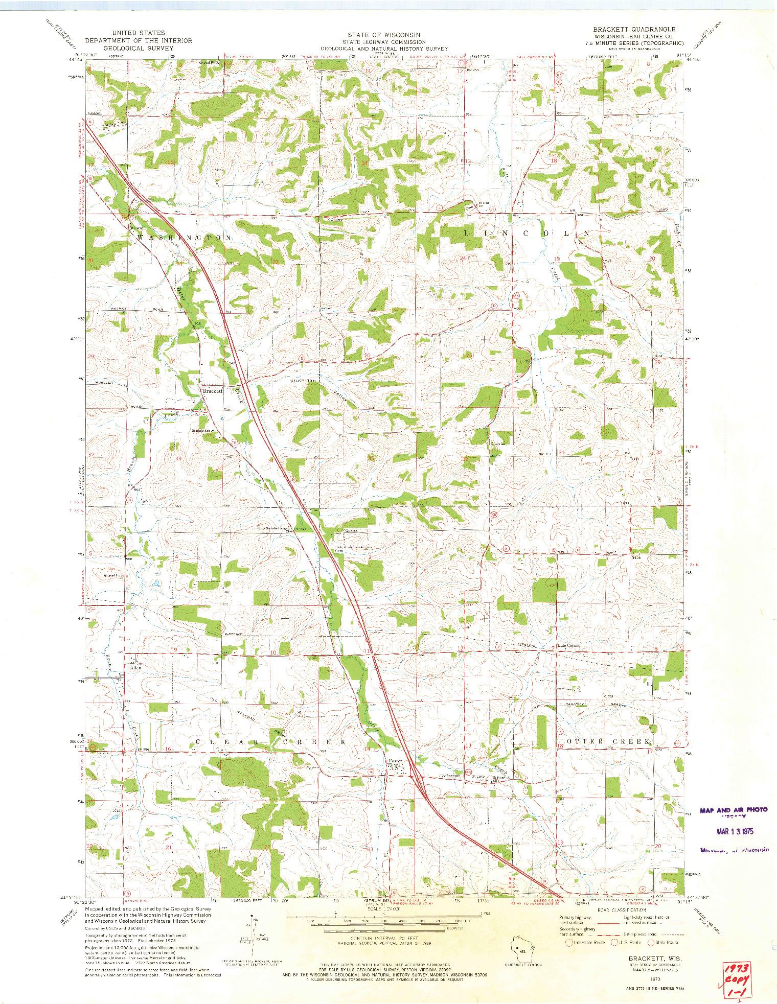 USGS 1:24000-SCALE QUADRANGLE FOR BRACKETT, WI 1973