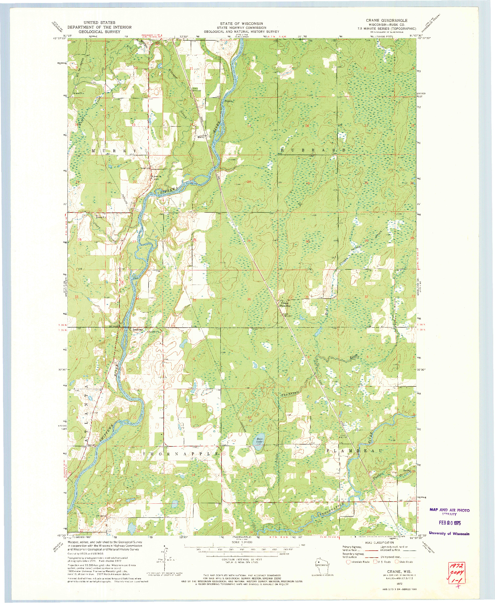 USGS 1:24000-SCALE QUADRANGLE FOR CRANE, WI 1972