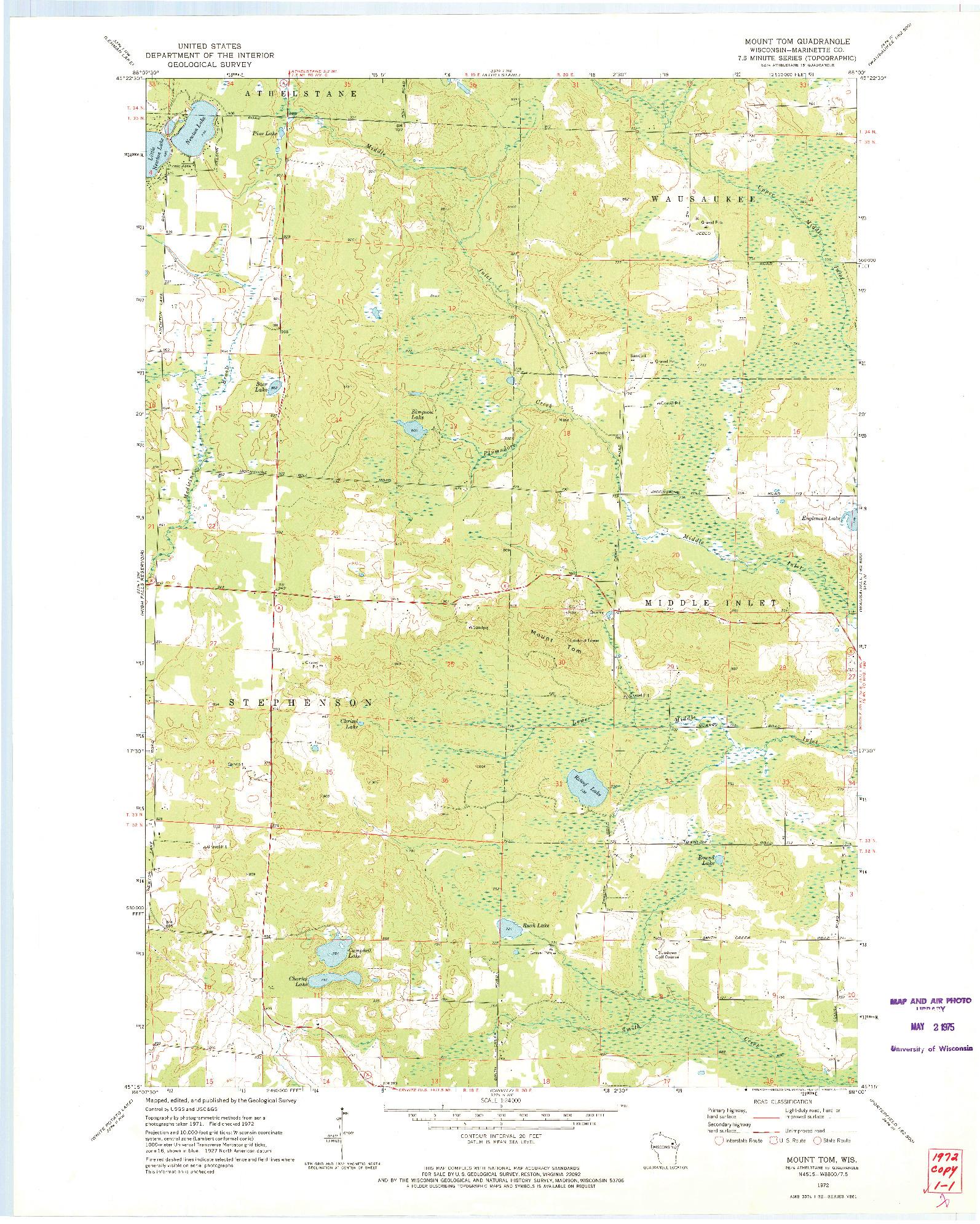 USGS 1:24000-SCALE QUADRANGLE FOR MOUNT TOM, WI 1972