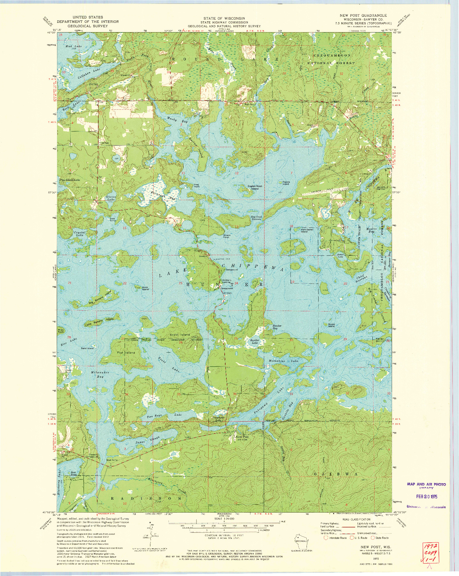 USGS 1:24000-SCALE QUADRANGLE FOR NEW POST, WI 1972