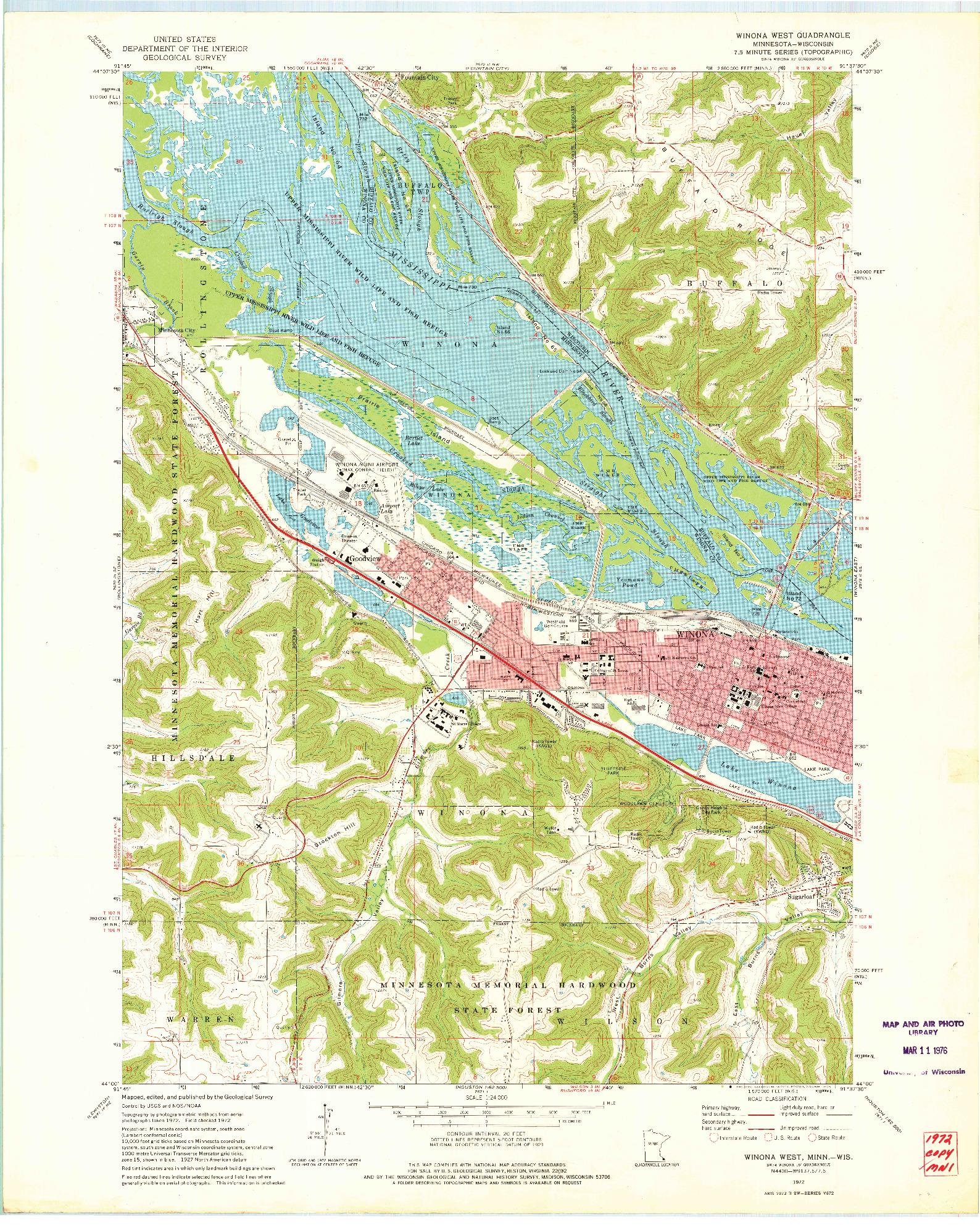 USGS 1:24000-SCALE QUADRANGLE FOR WINONA WEST, MN 1972