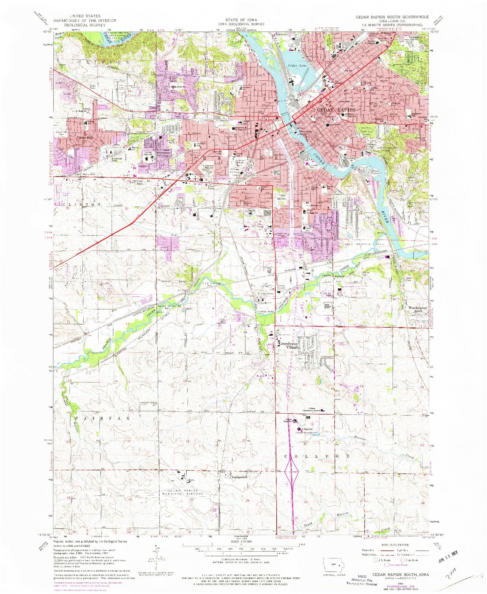 USGS 1:24000-SCALE QUADRANGLE FOR CEDAR RAPIDS SOUTH, IA 1967
