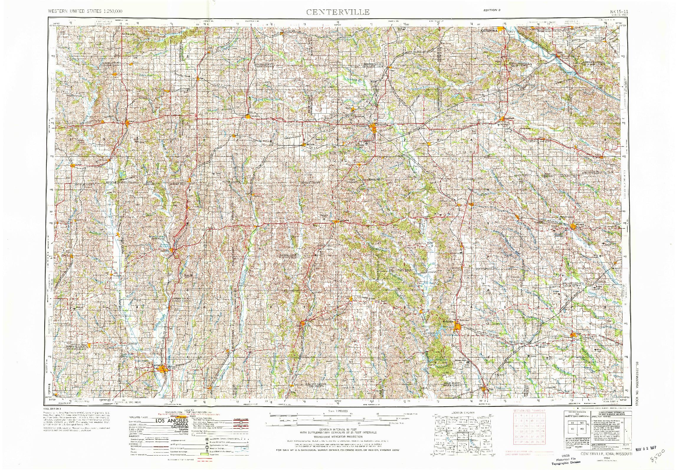 USGS 1:250000-SCALE QUADRANGLE FOR CENTERVILLE, IA 1954