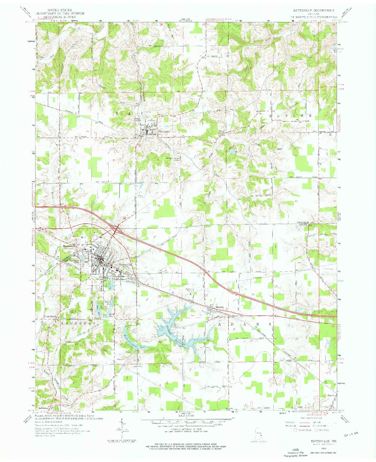 USGS 1:24000-SCALE QUADRANGLE FOR BATESVILLE, IN 1961