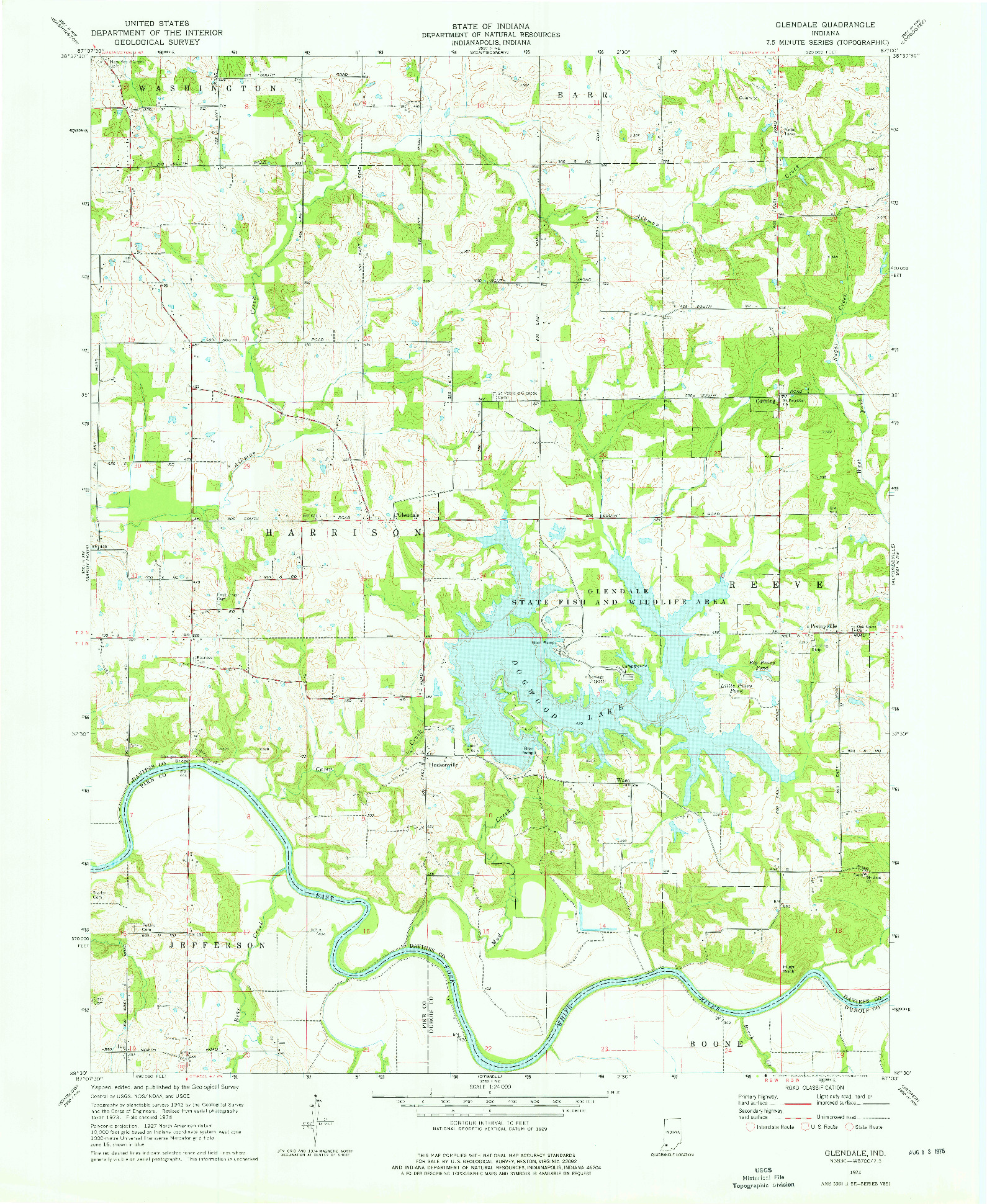 USGS 1:24000-SCALE QUADRANGLE FOR GLENDALE, IN 1974