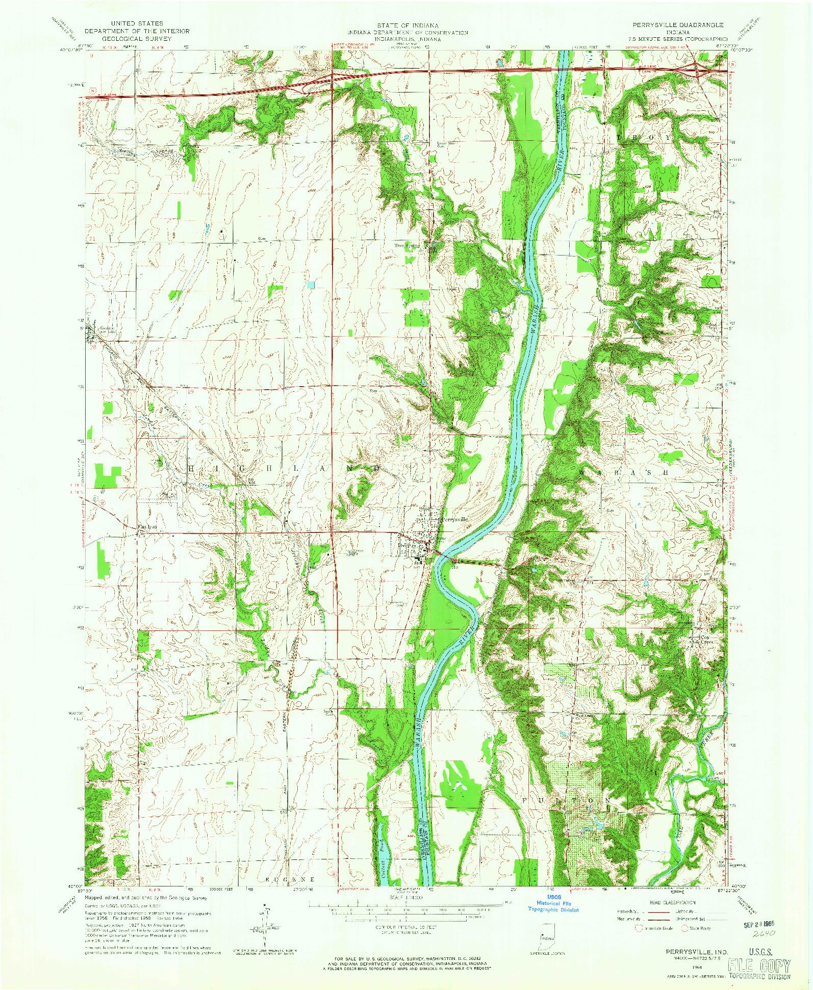 USGS 1:24000-SCALE QUADRANGLE FOR PERRYSVILLE, IN 1964