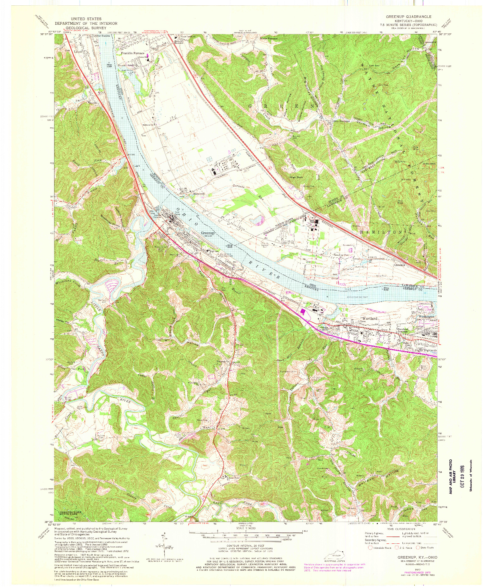 USGS 1:24000-SCALE QUADRANGLE FOR GREENUP, KY 1972