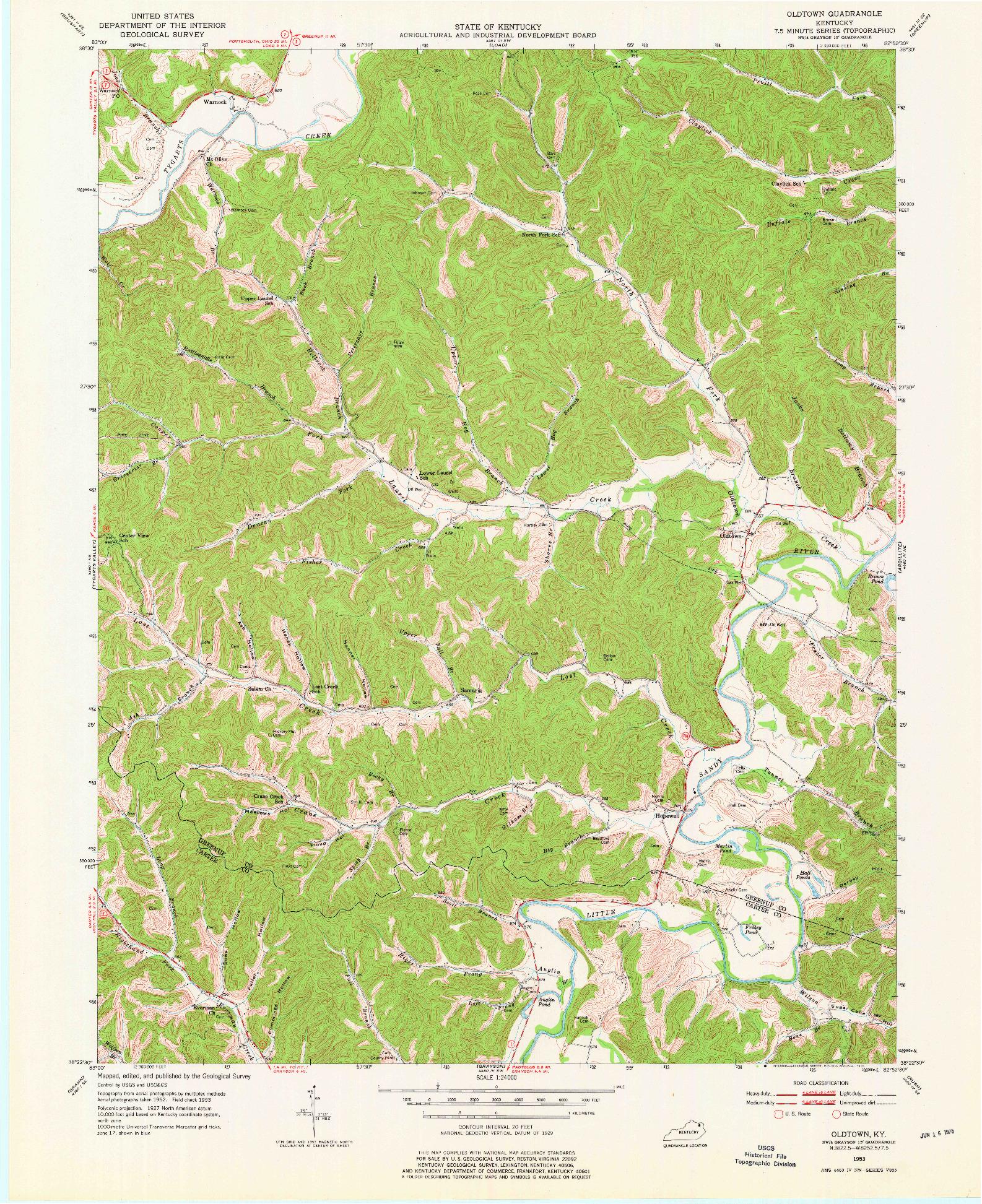 USGS 1:24000-SCALE QUADRANGLE FOR OLDTOWN, KY 1953