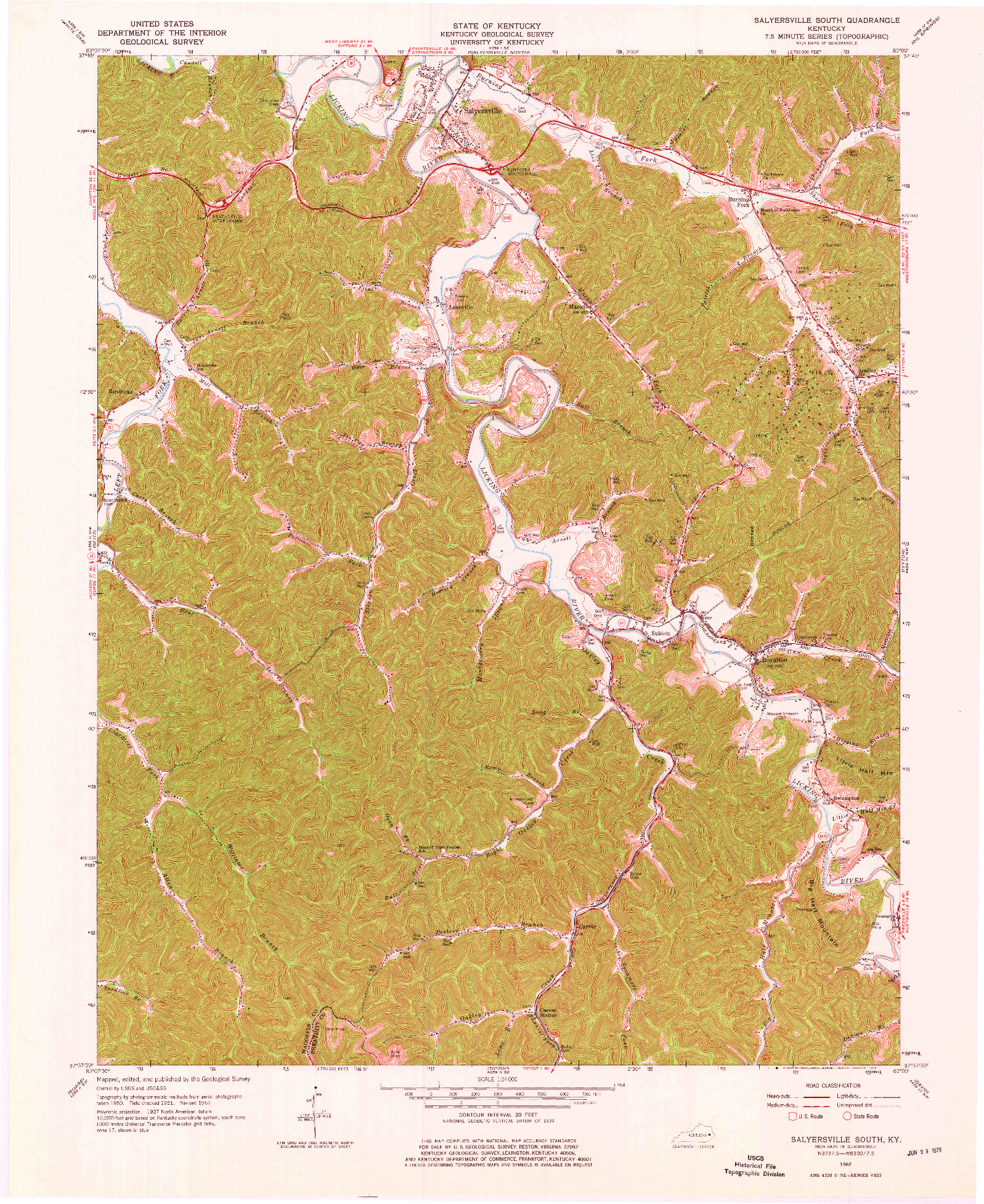 USGS 1:24000-SCALE QUADRANGLE FOR SALYERSVILLE SOUTH, KY 1962