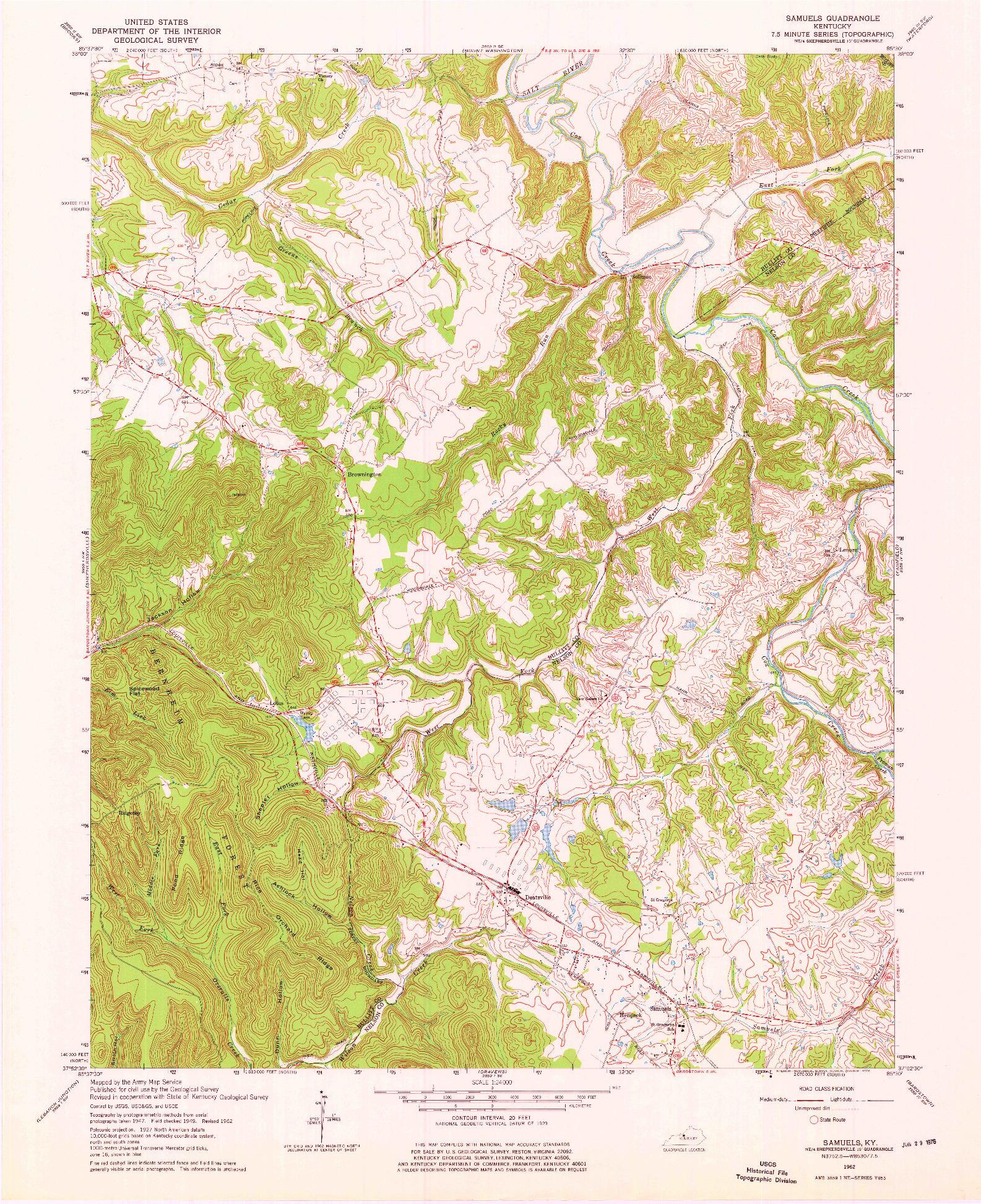 USGS 1:24000-SCALE QUADRANGLE FOR SAMUELS, KY 1962