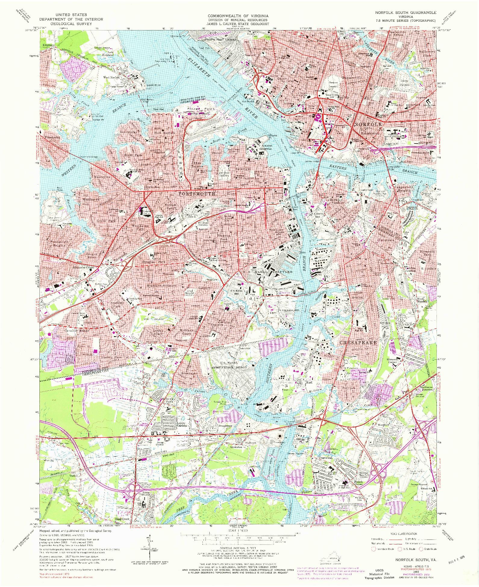 USGS 1:24000-SCALE QUADRANGLE FOR NORFOLK SOUTH, VA 1965