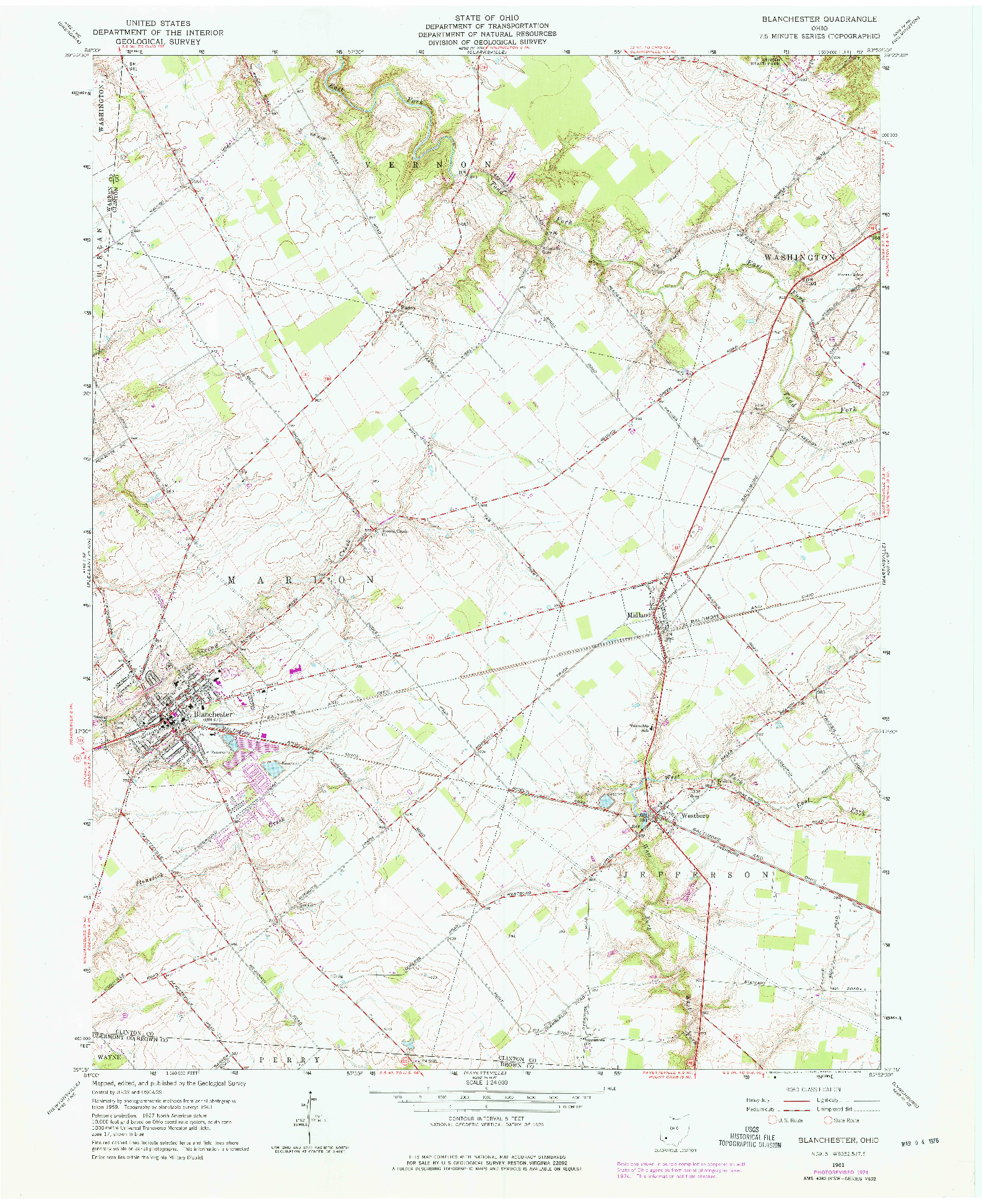 USGS 1:24000-SCALE QUADRANGLE FOR BLANCHESTER, OH 1961
