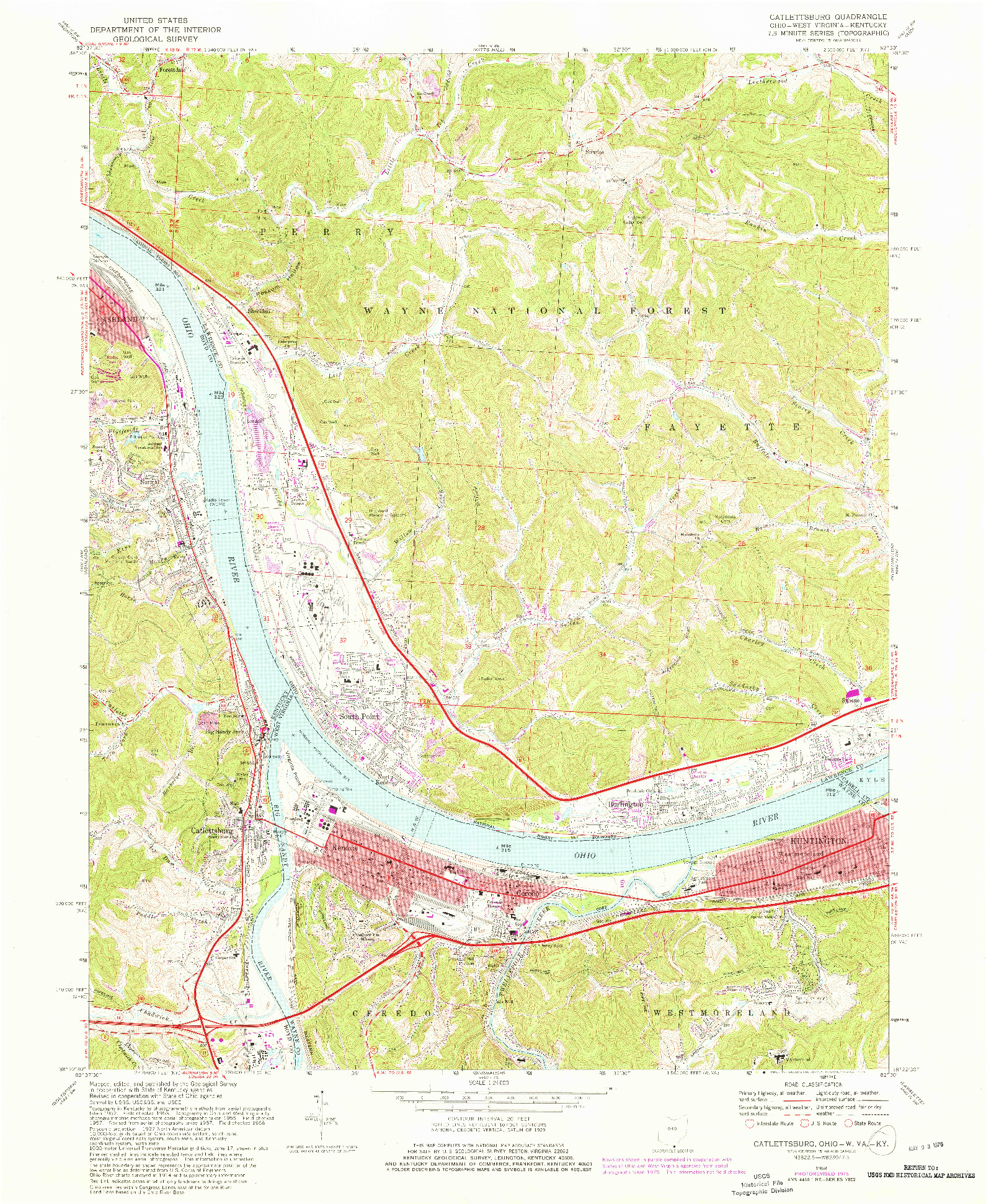 USGS 1:24000-SCALE QUADRANGLE FOR CATLETTSBURG, OH 1968