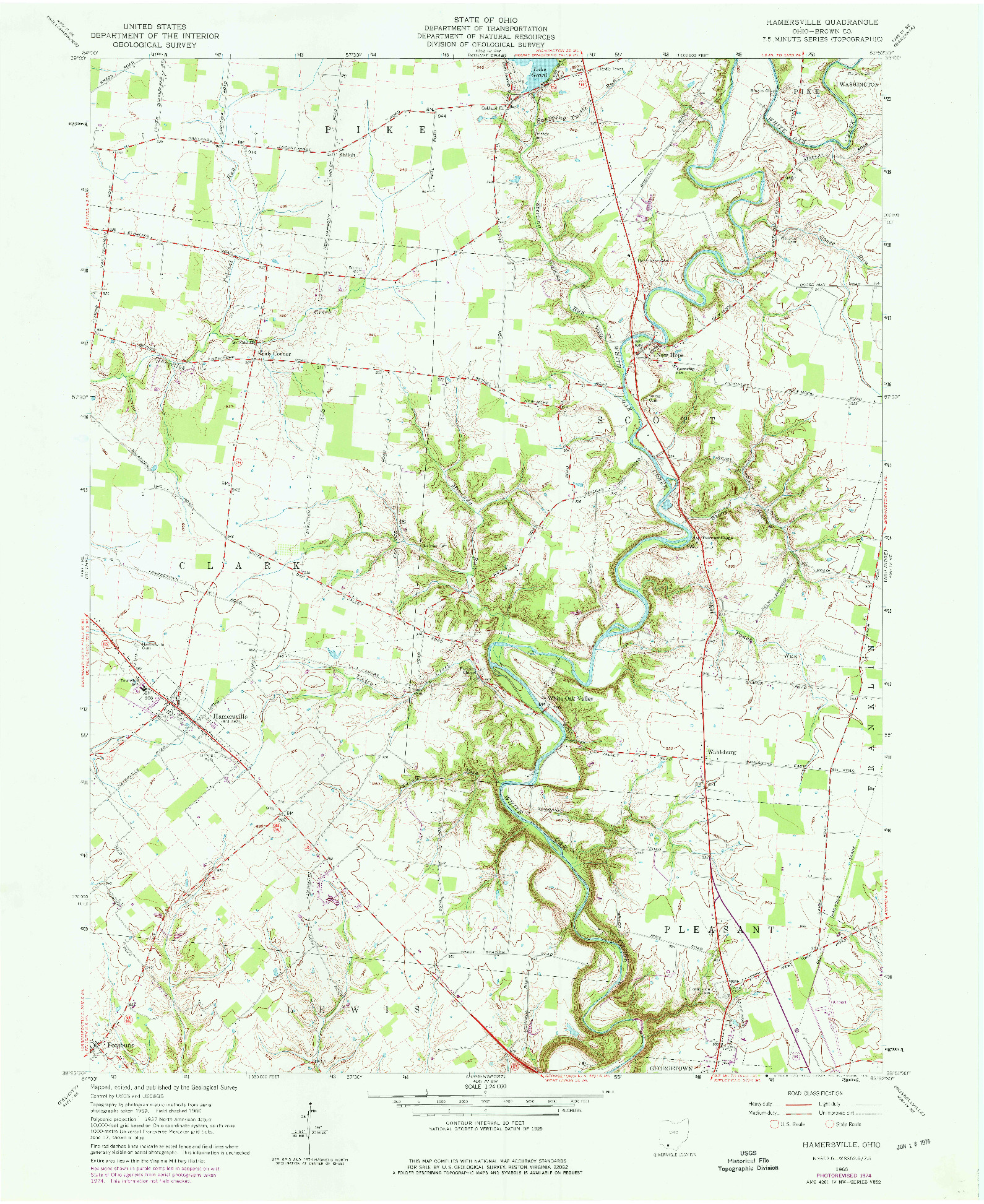USGS 1:24000-SCALE QUADRANGLE FOR HAMERSVILLE, OH 1960
